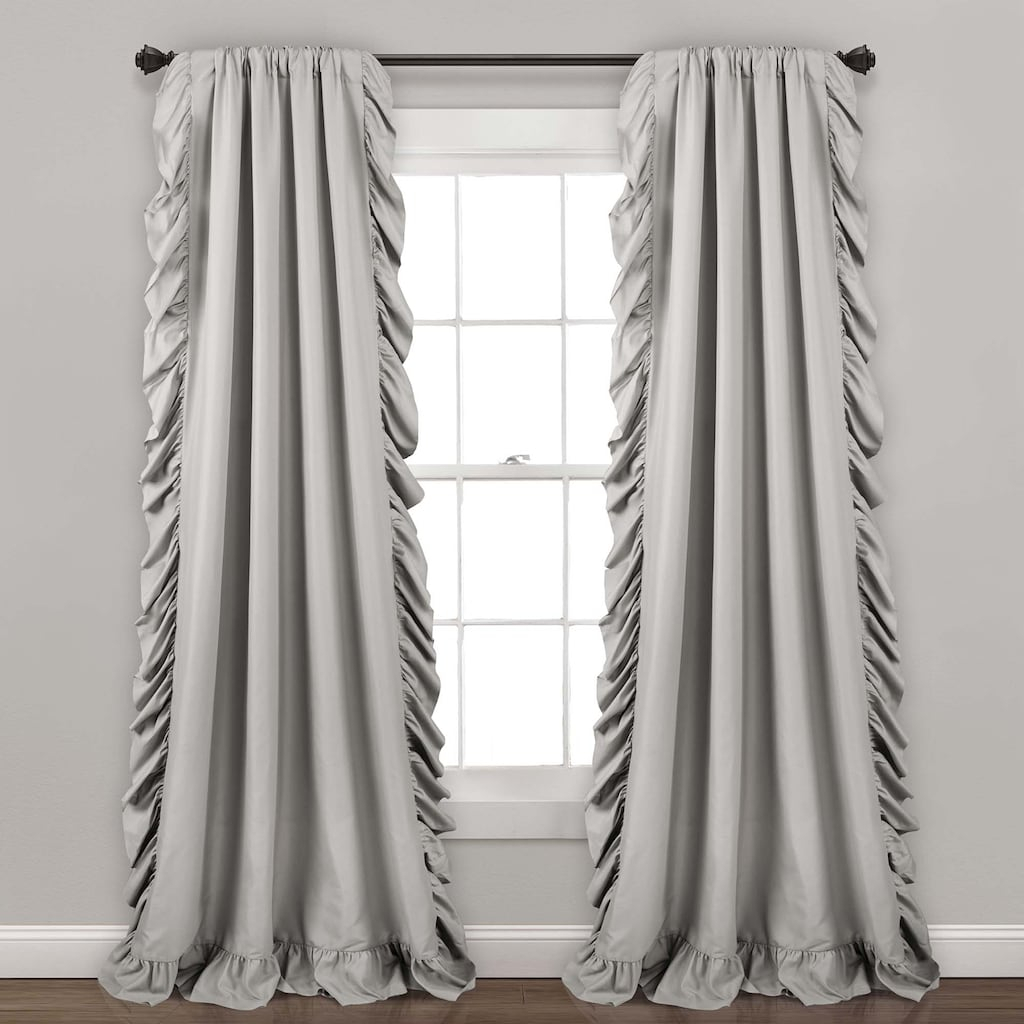Lush Decor 2 Pack Reyna Cascading Window Curtains, Grey For Ruffle Diamond Curtain Panel Pairs (View 9 of 20)