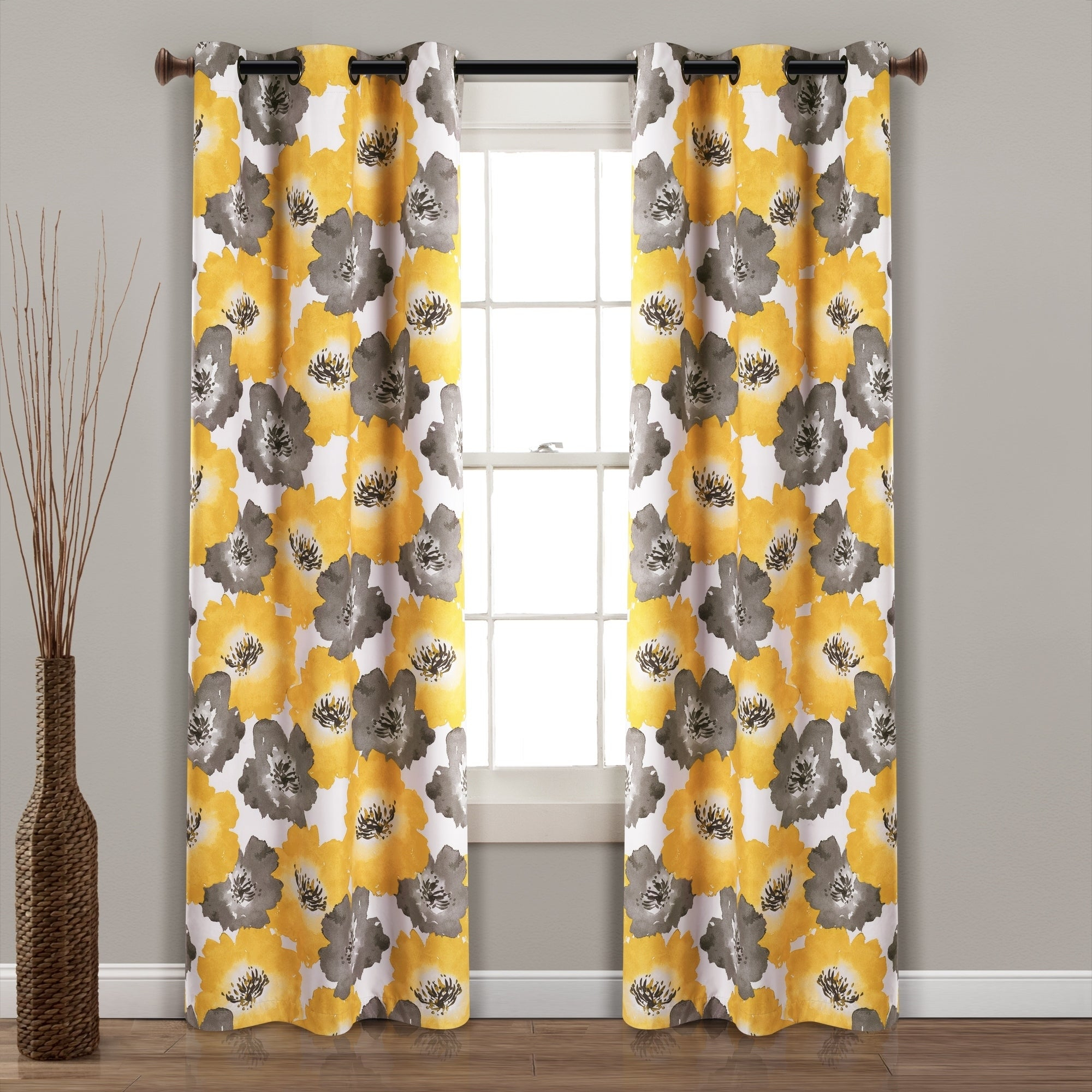 Lush Decor Julie Floral Insulated Grommet Blackout Window Curtain Panel Pair Intended For Insulated Grommet Blackout Curtain Panel Pairs (View 16 of 20)