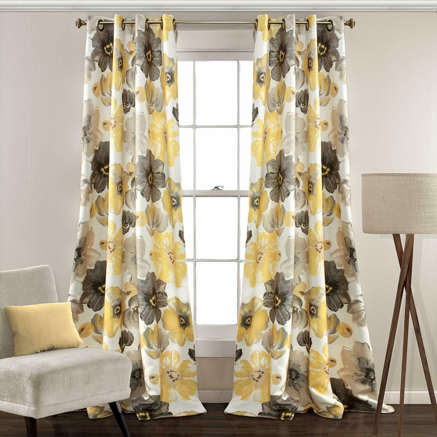 Lush Decor Leah Floral Room Darkening Window Curtains Panel Set Of 2 Intended For Julia Striped Room Darkening Window Curtain Panel Pairs (View 10 of 20)