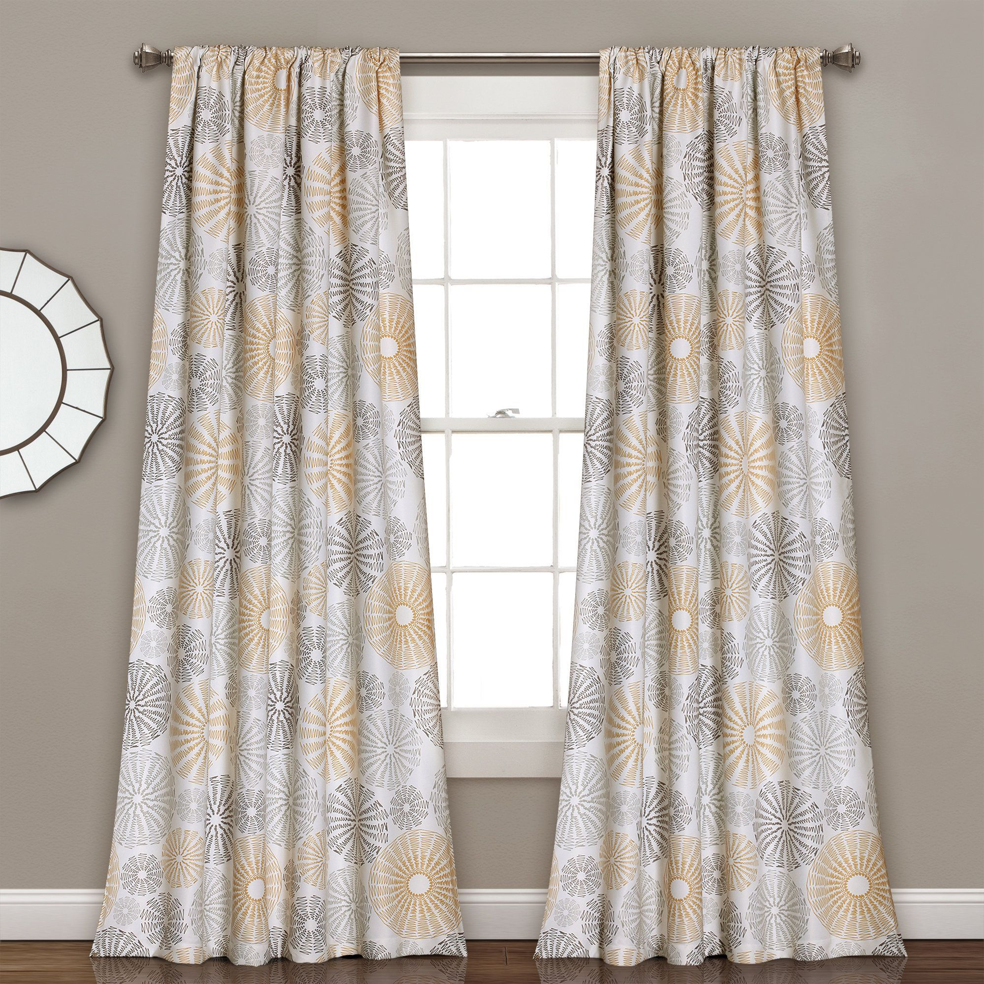 Lush Decor Multi Circles Room Darkening Window Curtain Panel Within Dolores Room Darkening Floral Curtain Panel Pairs (View 16 of 20)