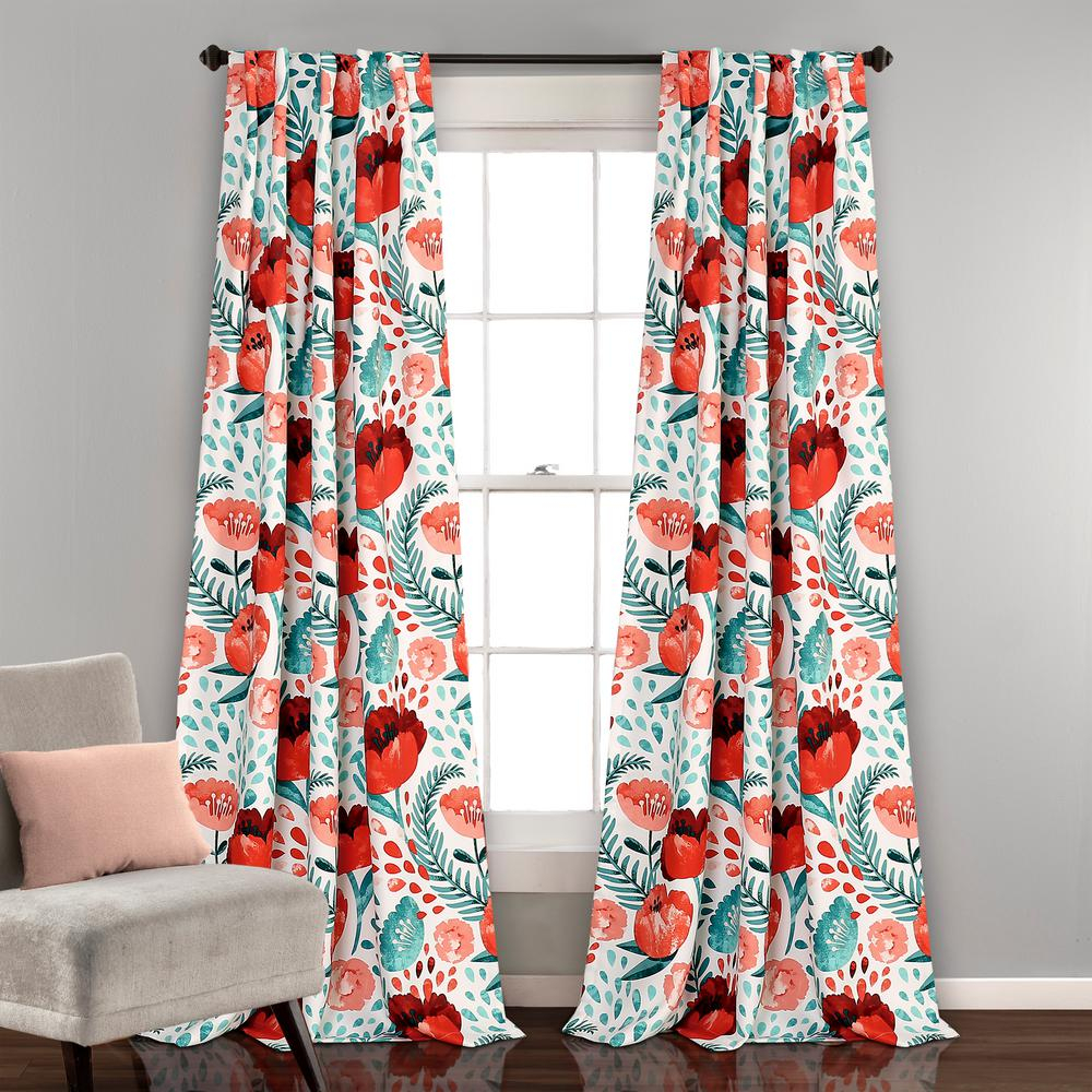 "Lush Decor Poppy Garden Window Panels Multi 84"" X 52"" 2 Pc Set 100% Polyester Intended For Julia Striped Room Darkening Window Curtain Panel Pairs (View 8 of 20)"