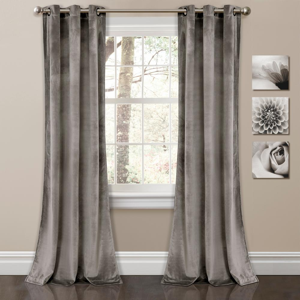 """Lush Decor Prima Velvet Solid Window Panels Gray 84"""" X 38"""" 2 Pc Set 100% Polyester Within Lydia Ruffle Window Curtain Panel Pairs (View 6 of 20)"""