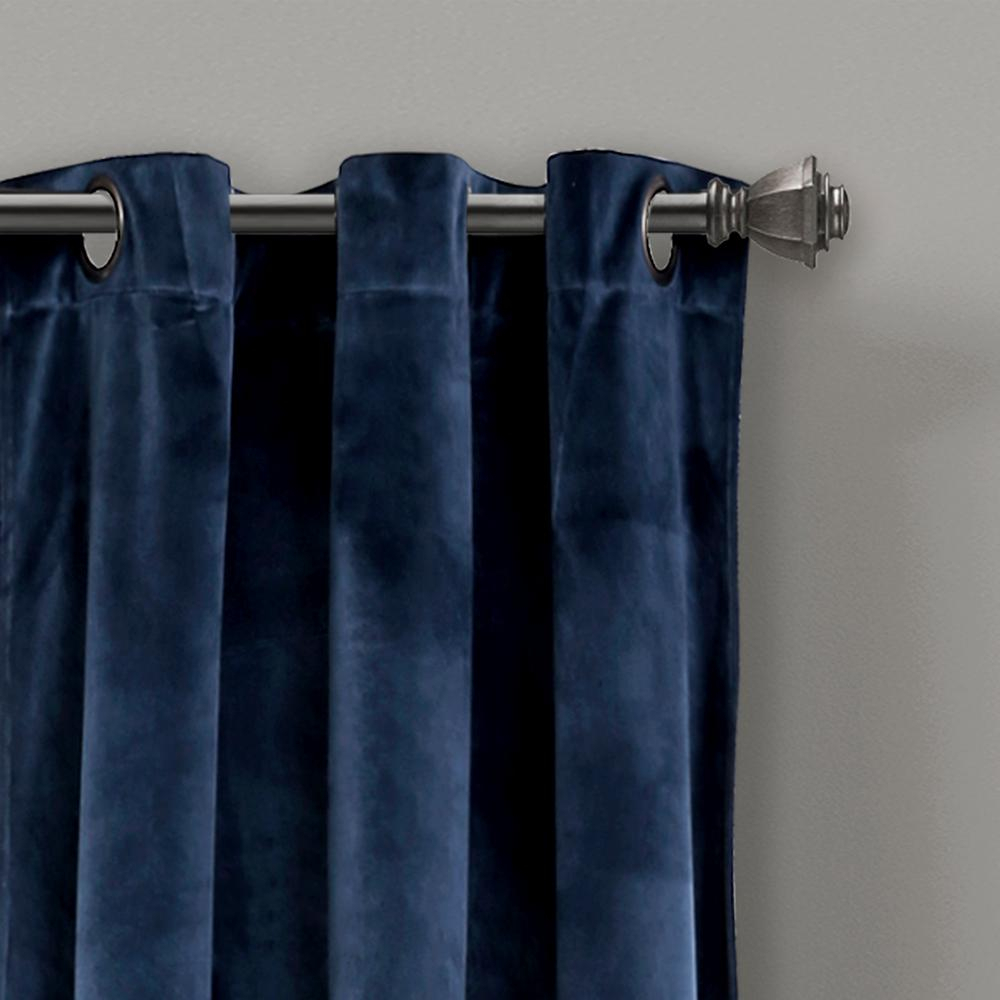 "Lush Decor Prima Velvet Solid Window Panels Navy 84"" X 38"" 2 Pc Set 100% Polyester For Velvet Solid Room Darkening Window Curtain Panel Sets (View 10 of 30)"