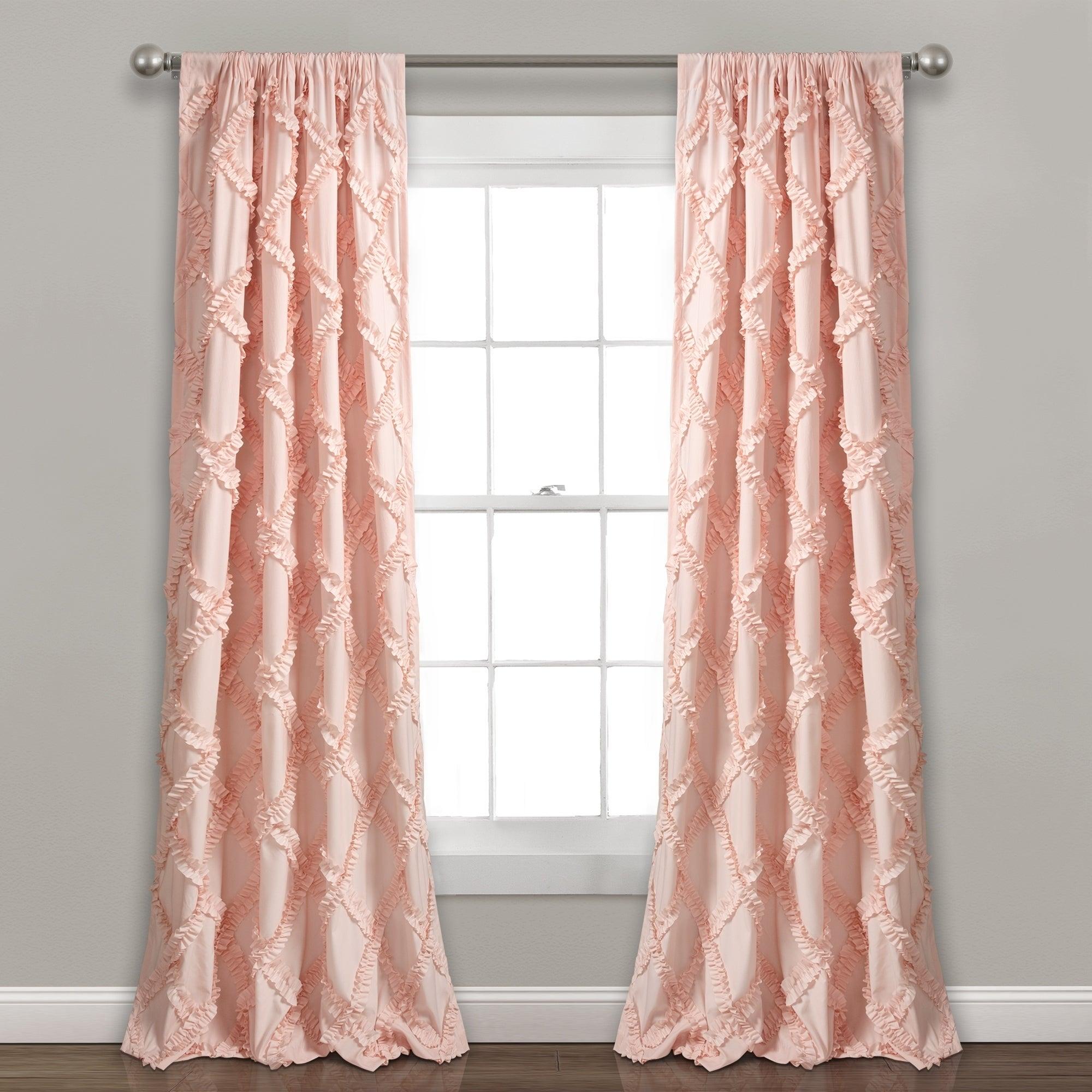 Lush Decor Ruffle Diamond Curtain Panel Pair For Ruffle Diamond Curtain Panel Pairs (View 6 of 20)