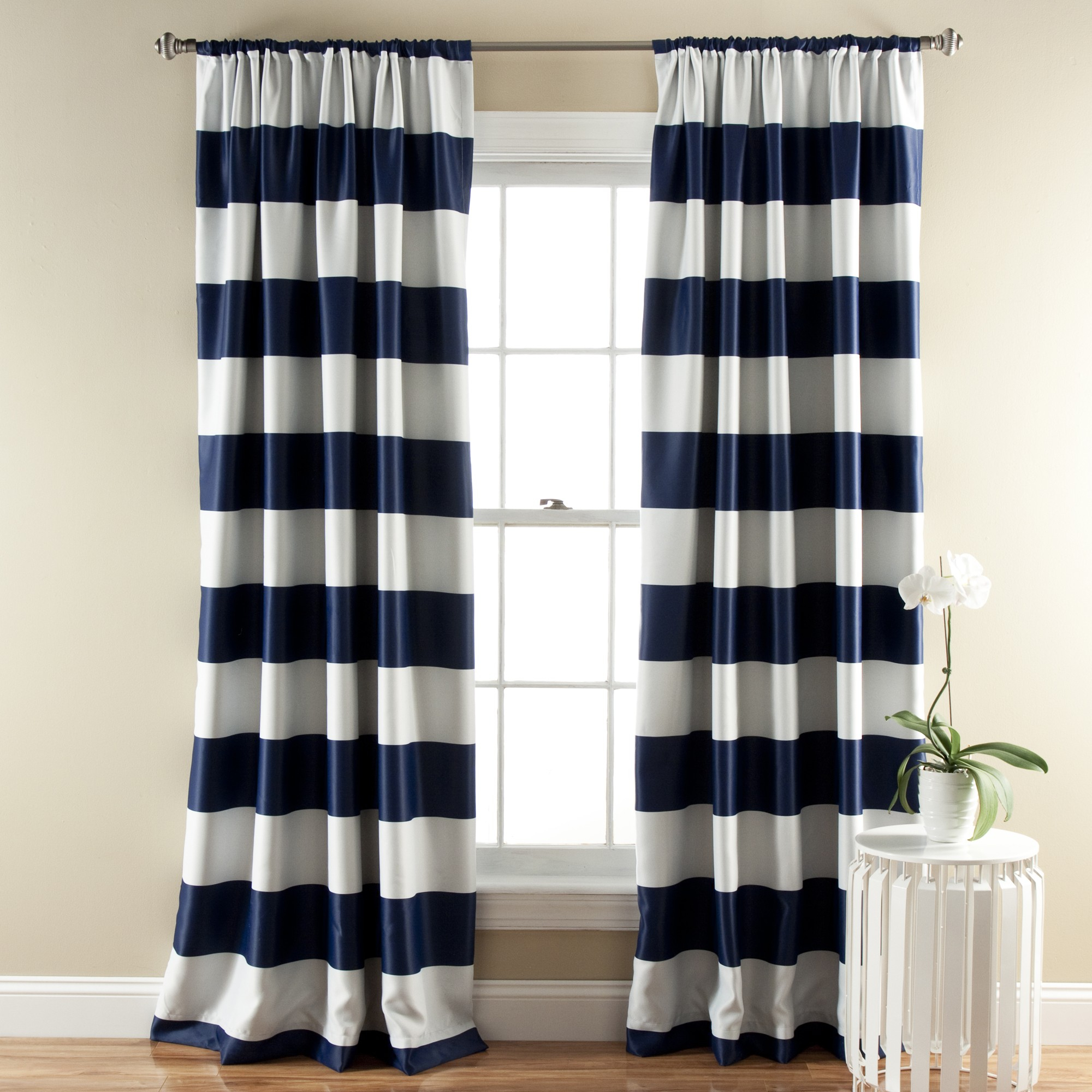Lush Decor Stripe Blackout Navy Window Curtain Set Of 2 For Room Darkening Window Curtain Panel Pairs (View 18 of 20)