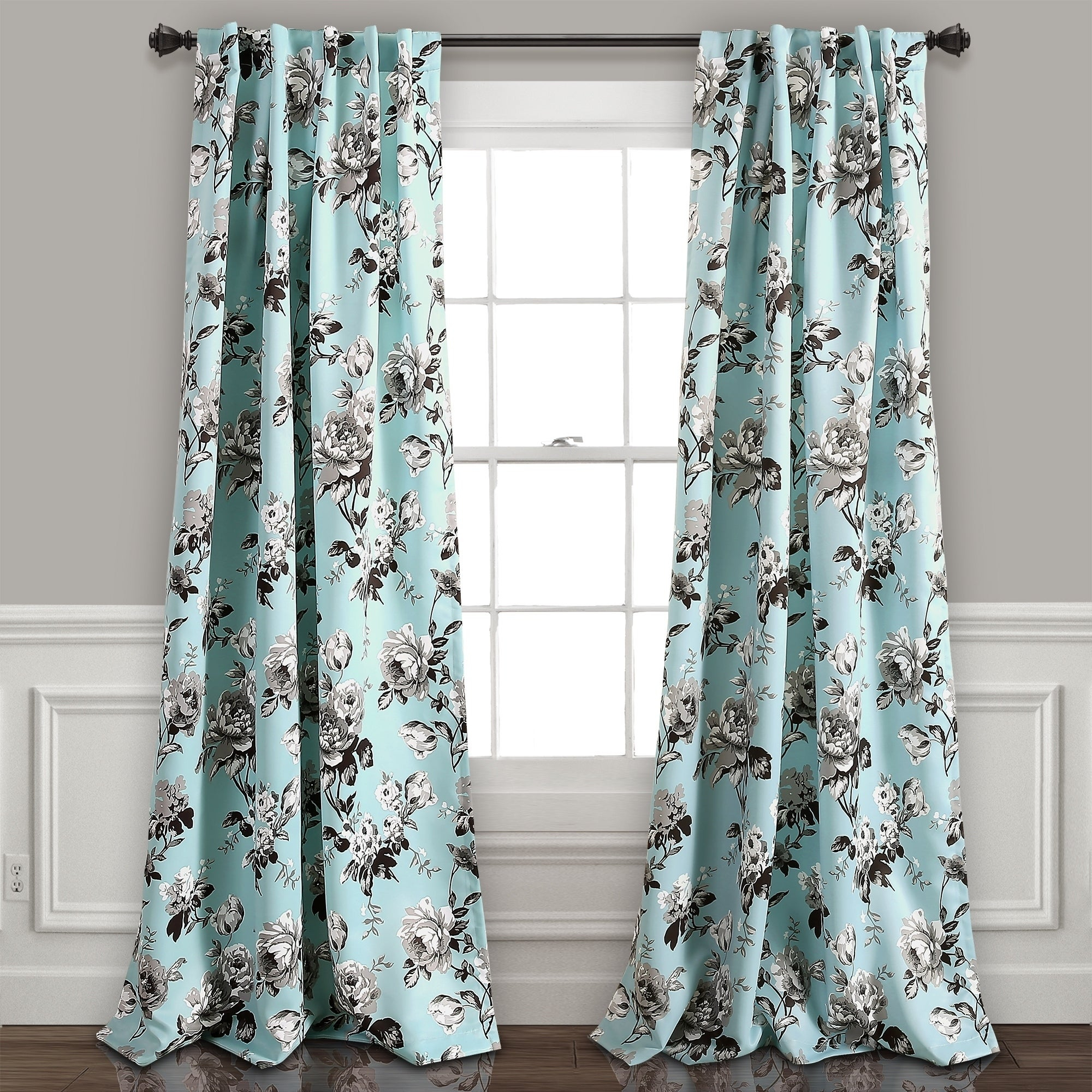 Lush Decor Tania Floral Room Darkening Window Curtain Panel Pair for Floral Pattern Room Darkening Window Curtain Panel Pairs (Image 11 of 20)