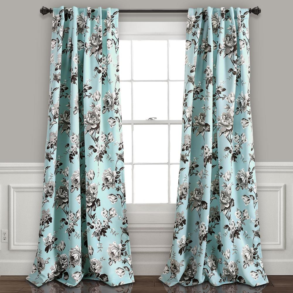 Lush Decor Tania Floral Window Panel In Blue – 84 In. L X 52 In (View 12 of 30)
