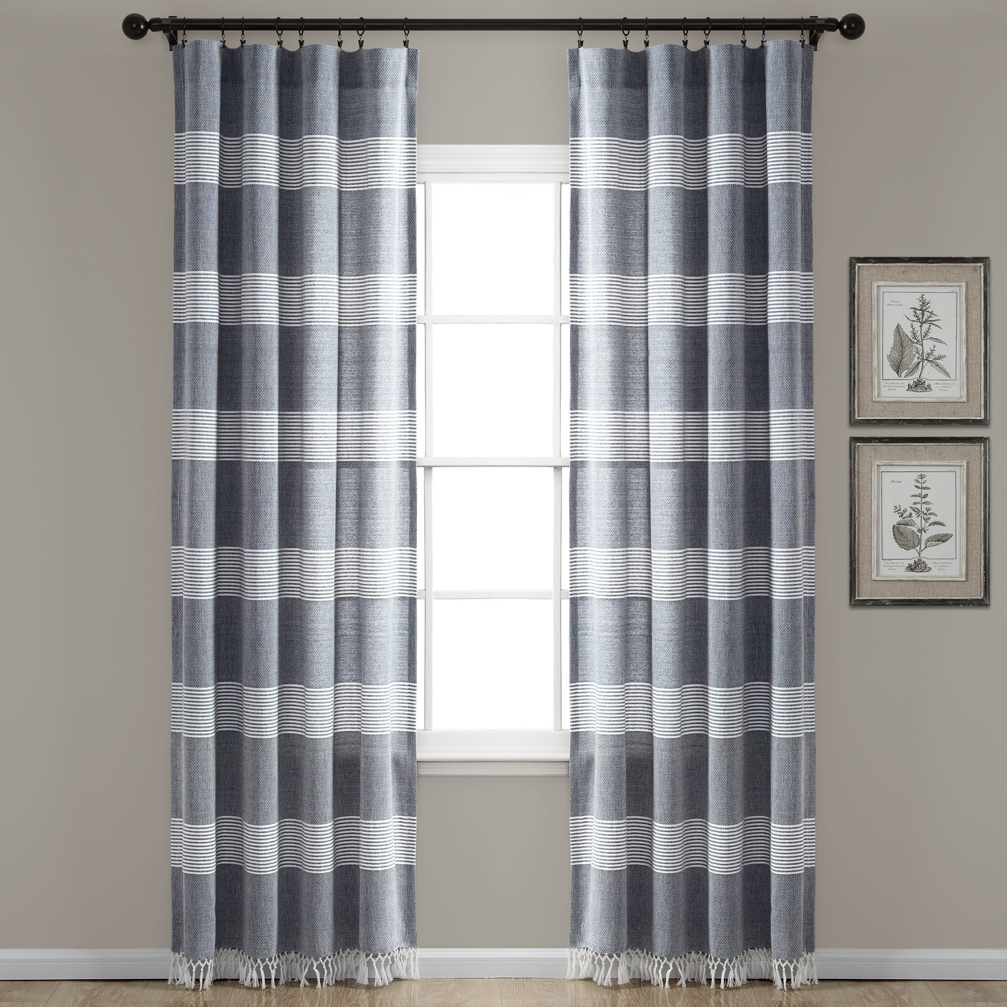 Lush Decor Tucker Stripe Yarn Dyed Cotton Knotted Tassel Window Curtain Panel Pair With Ombre Stripe Yarn Dyed Cotton Window Curtain Panel Pairs (View 2 of 20)