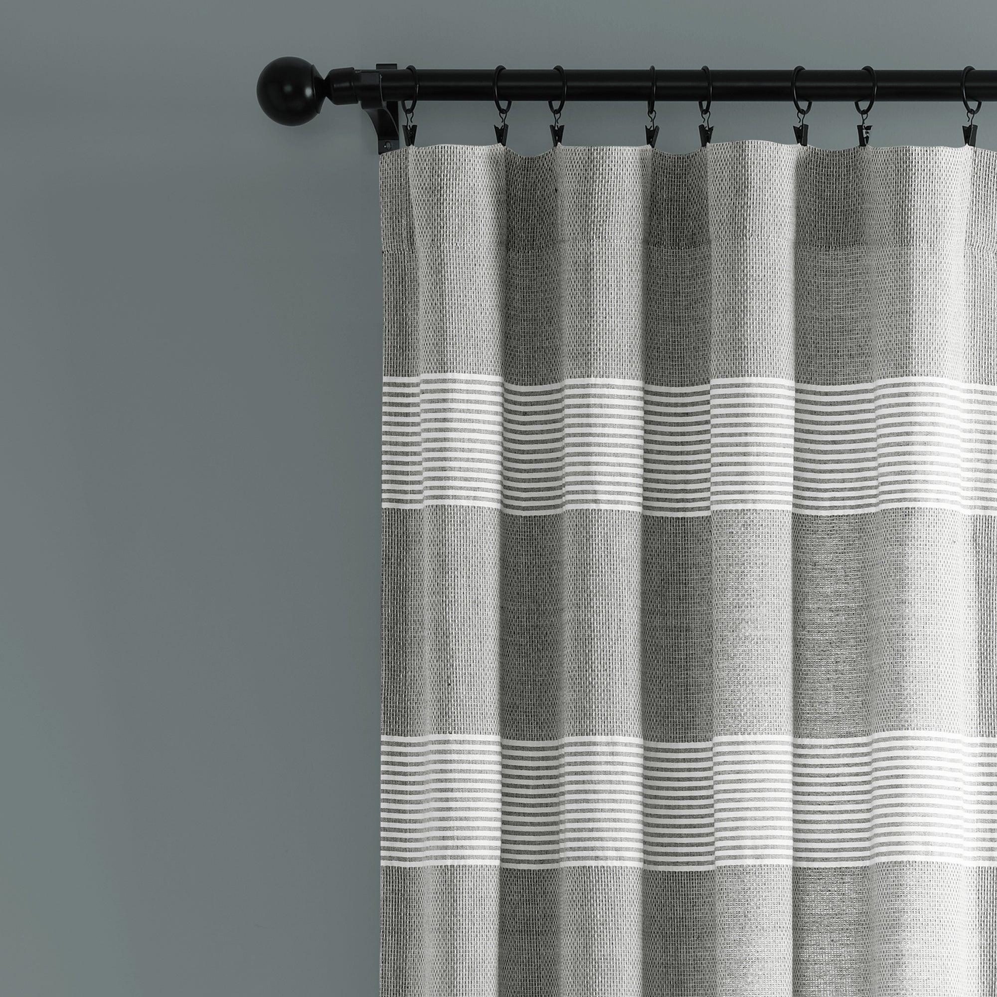 Lush Decor Tucker Stripe Yarn Dyed Cotton Knotted Tassel Window Curtain Panel Pair With Regard To Ombre Stripe Yarn Dyed Cotton Window Curtain Panel Pairs (View 3 of 20)