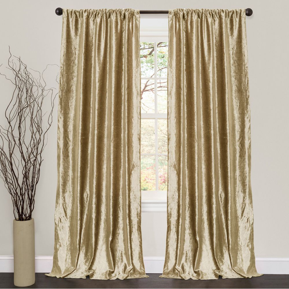 Lush Decor Velvet Dream Gold 84 Inch Curtain Panel Pair With Velvet Dream Silver Curtain Panel Pairs (View 3 of 31)