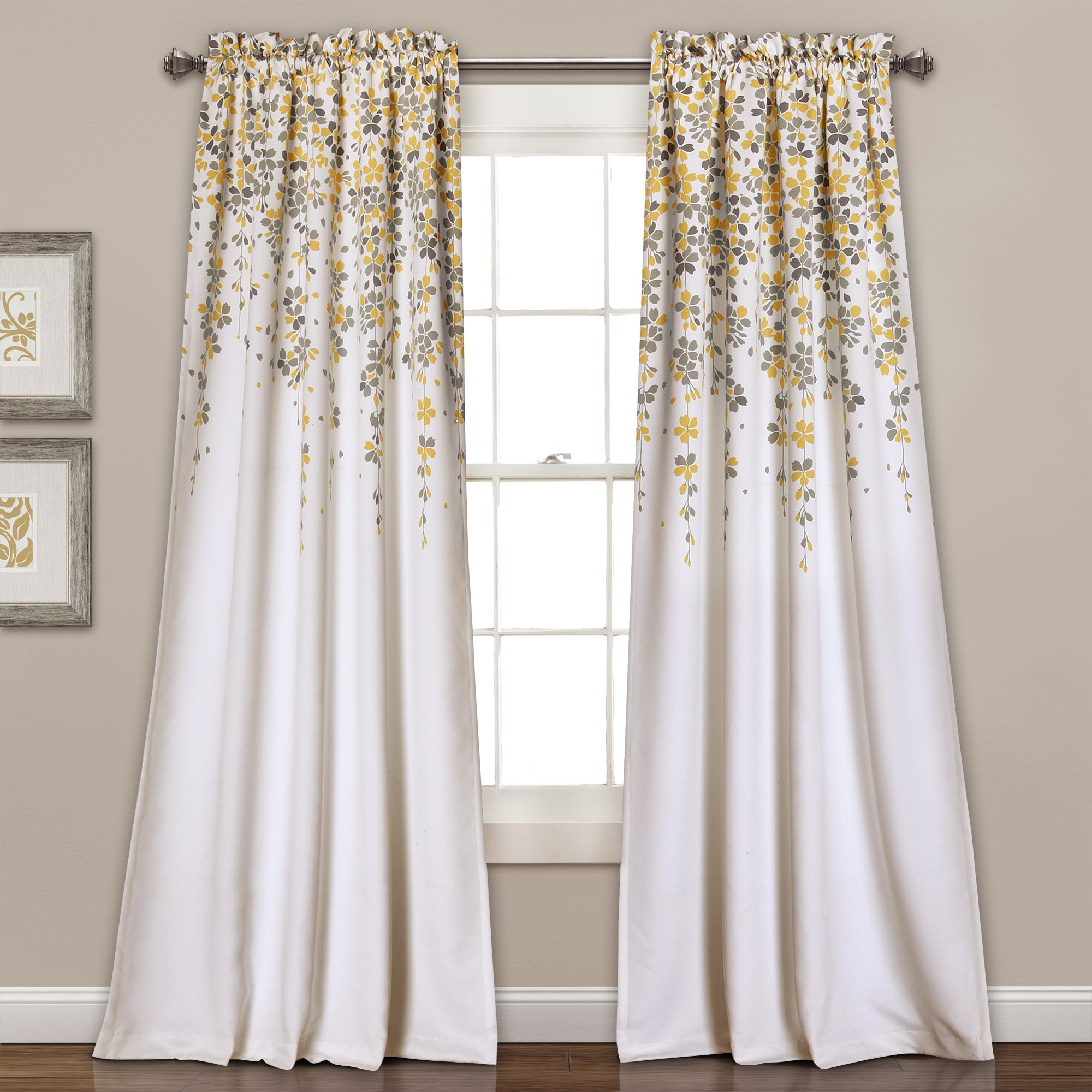 Featured Photo of Weeping Flowers Room Darkening Curtain Panel Pairs