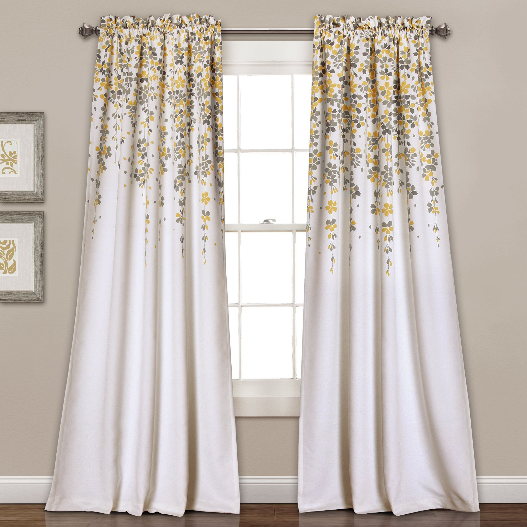 Lush Decor Weeping Flowers Room-Darkening Window Curtain within Floral Pattern Room Darkening Window Curtain Panel Pairs (Image 13 of 20)