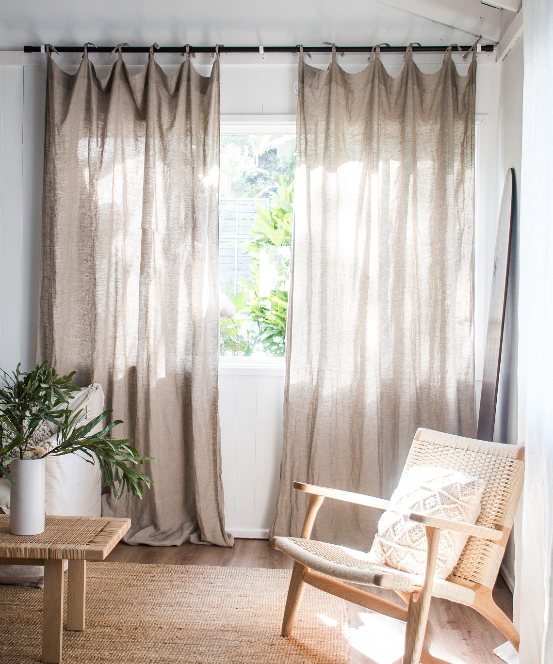 Luxe French Linen Curtain Set In Natural Within Signature French Linen Curtain Panels (View 24 of 30)