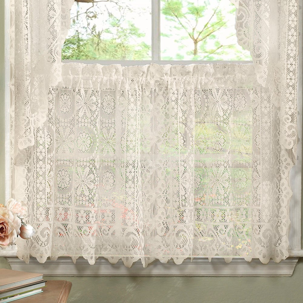 Luxurious Old World Style Lace Kitchen Curtains Tiers And Valances In Cream Pertaining To Luxurious Old World Style Lace Window Curtain Panels (View 5 of 20)