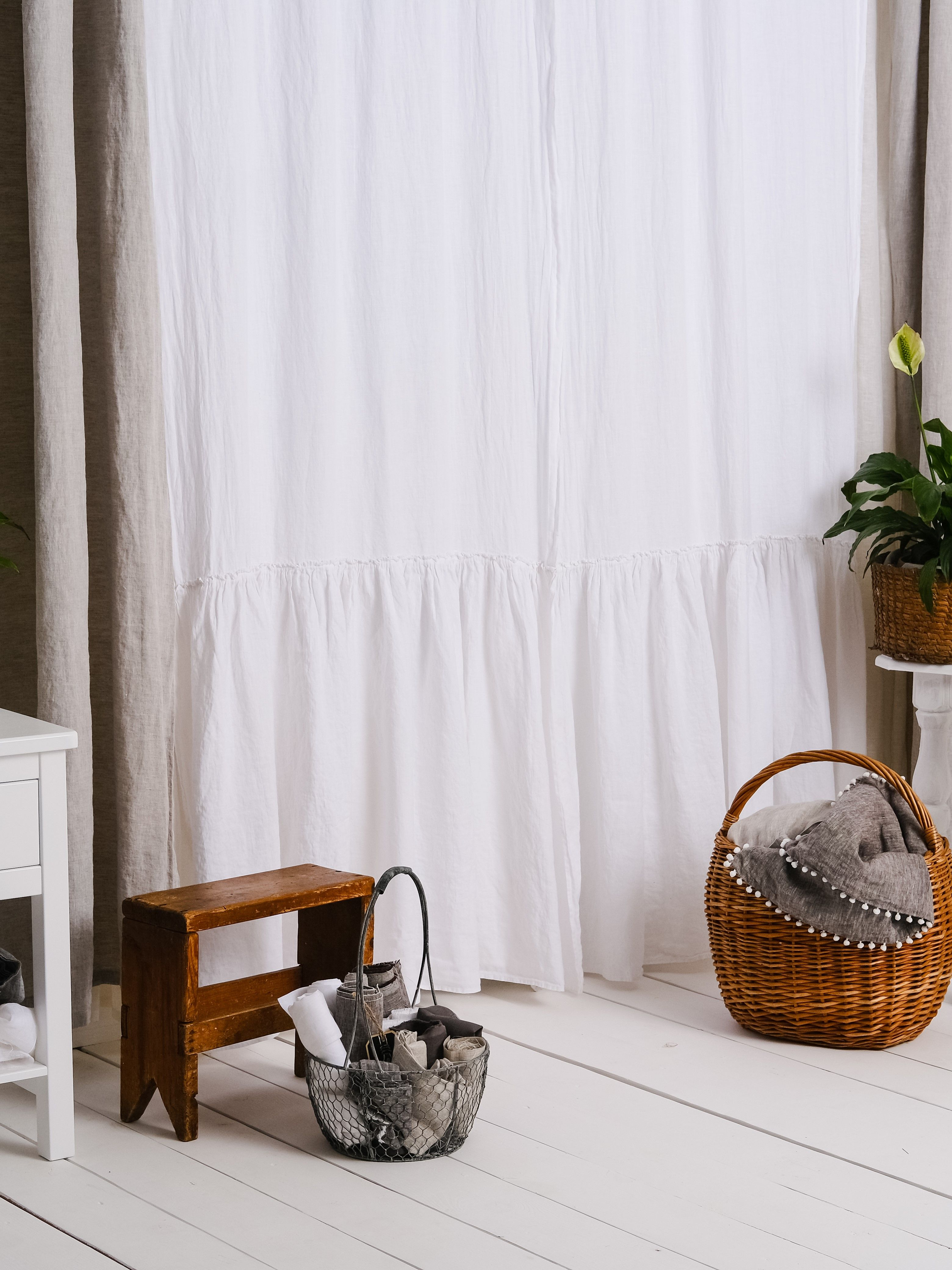 Luxury 100% Linen Farmhouse Ruffle Linen Curtain Panels Set Throughout Signature French Linen Curtain Panels (View 21 of 30)