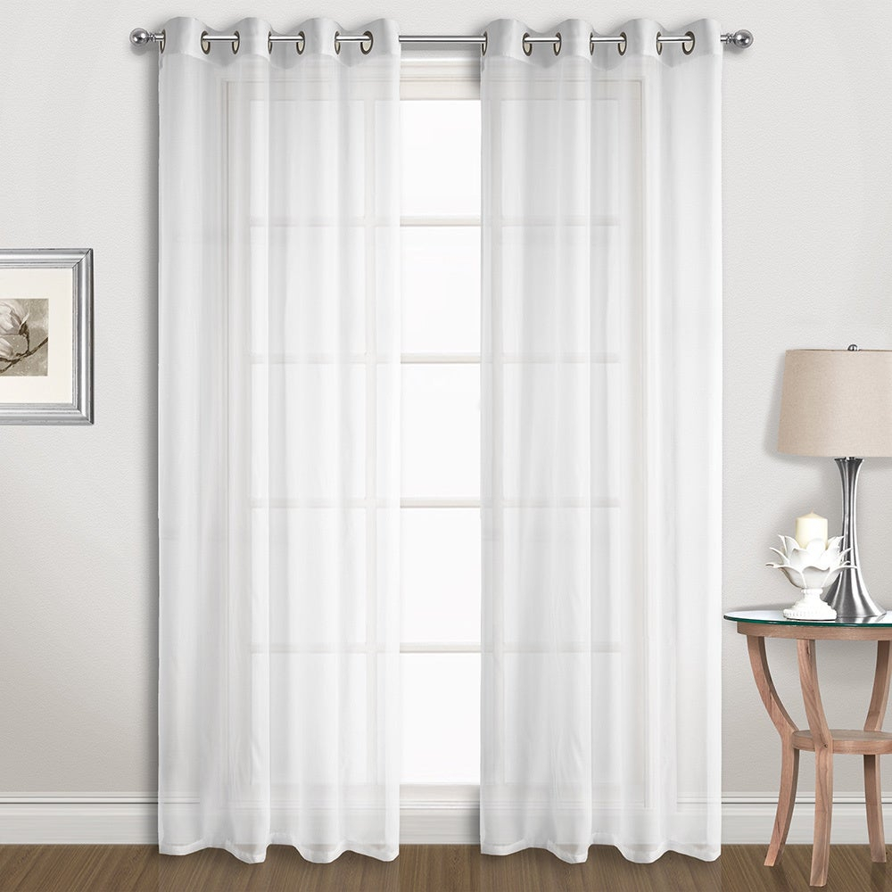 Luxury Collection Extra Wide Grommet Sheer Voile Curtain Panel Pair Inside Extra Wide White Voile Sheer Curtain Panels (View 5 of 20)