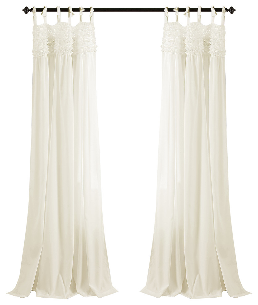 Lydia Ruffle Window Panel Pair, Ivory Intended For Lydia Ruffle Window Curtain Panel Pairs (View 4 of 20)