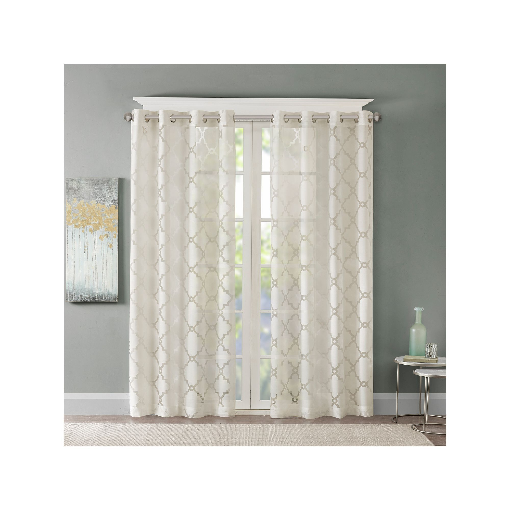 Madison Home Usa 1 Panel Laya Fretwork Sheer Window Curtain For Laya Fretwork Burnout Sheer Curtain Panels (View 7 of 20)