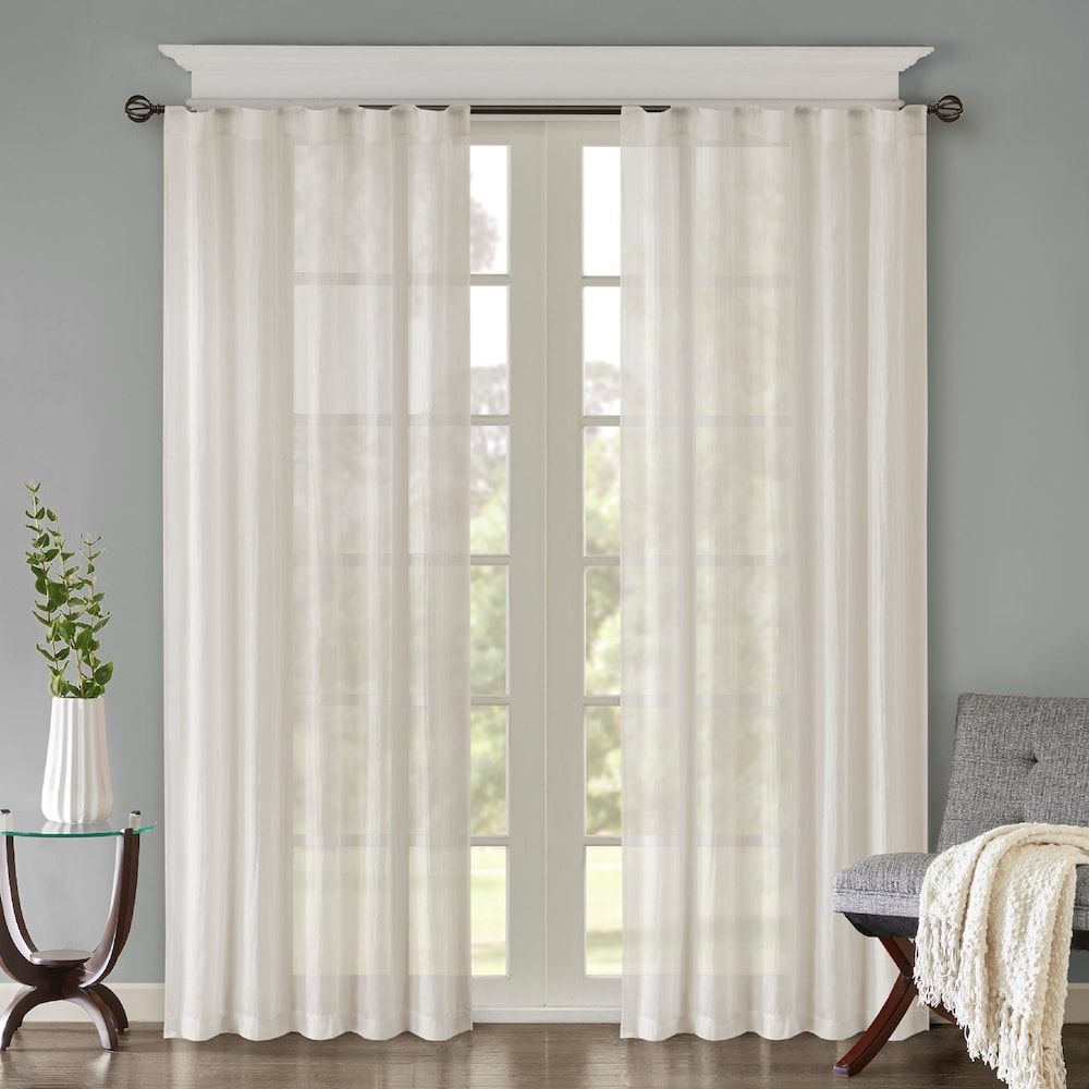 Madison Home Usa 2 Pack Kaylee Solid Crushed Window Curtains For Elowen White Twist Tab Voile Sheer Curtain Panel Pairs (View 17 of 20)