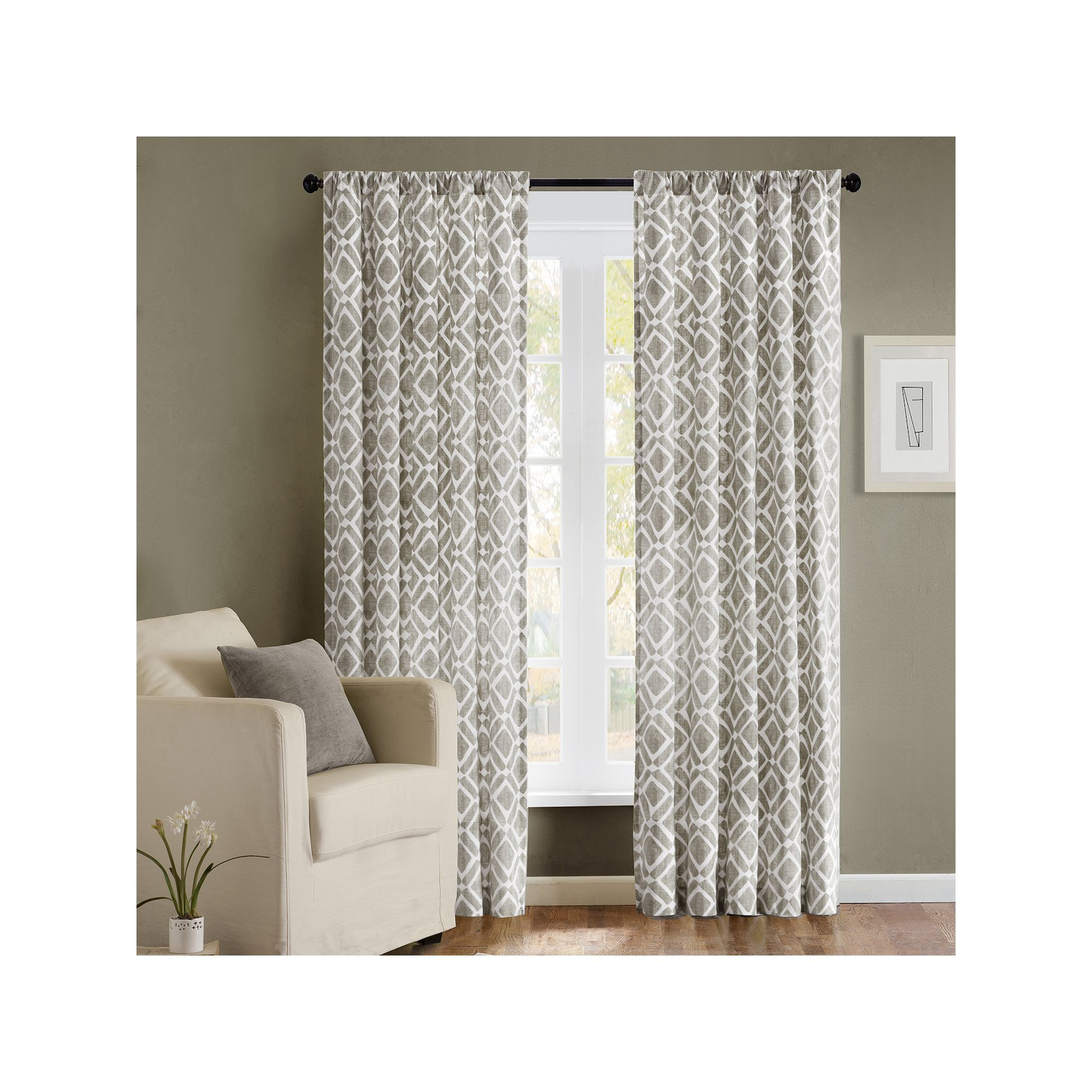 Madison Park 1 Panel Ella Window Curtain, Grey, 42x95 Pertaining To Ella Window Curtain Panels (View 2 of 20)