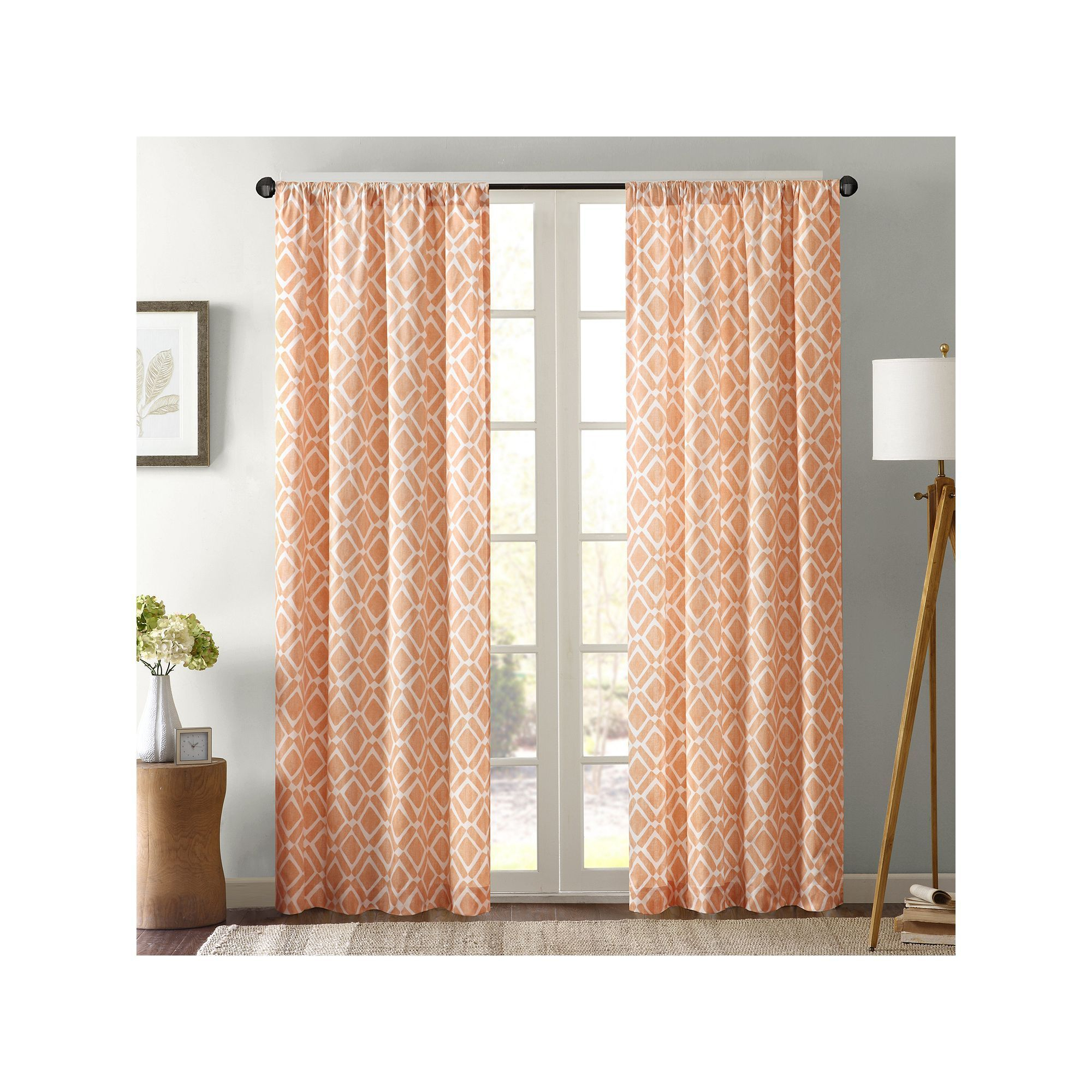 Madison Park 1 Panel Ella Window Curtain, Orange | Products Throughout Ella Window Curtain Panels (View 7 of 20)