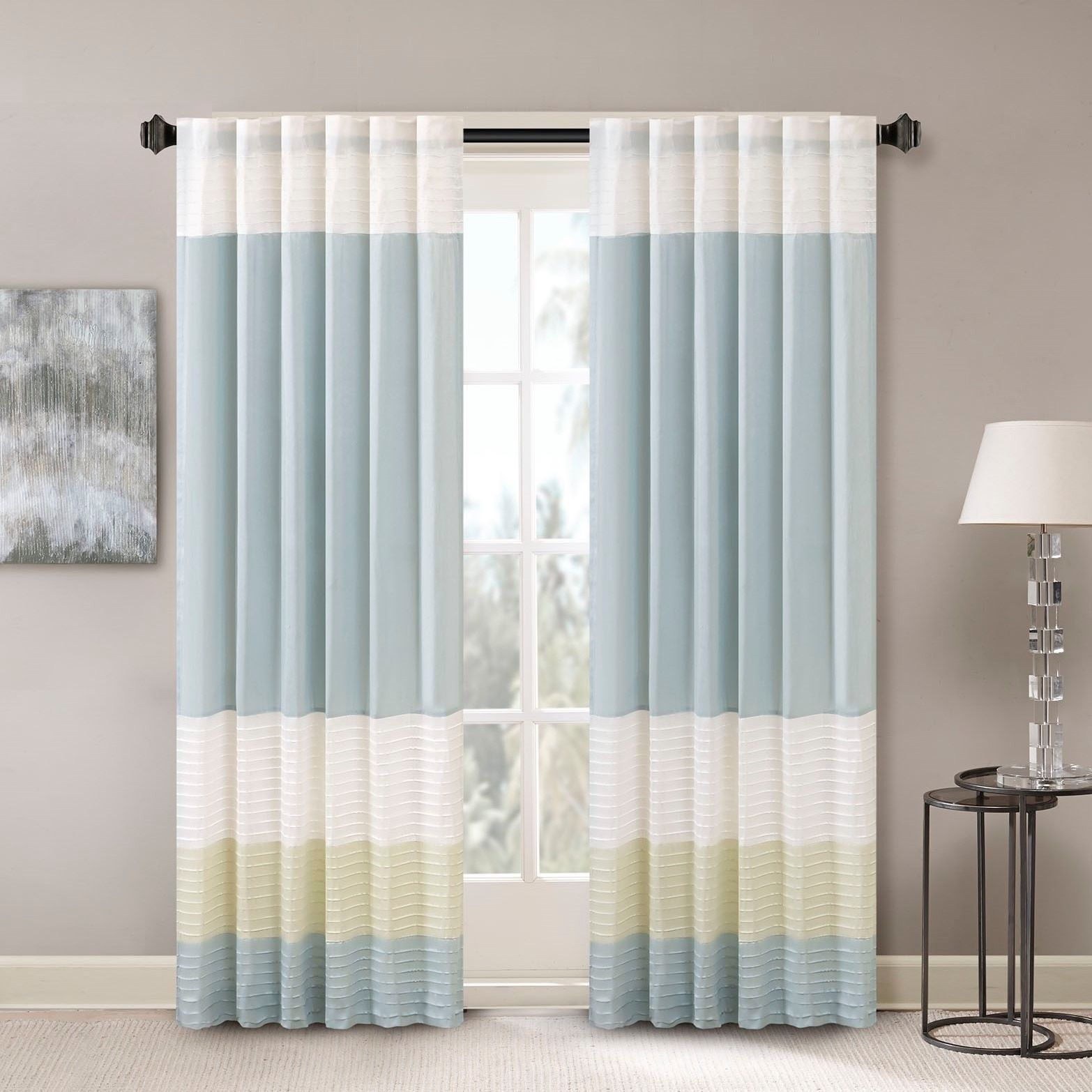 Madison Park Chester Polyoni Pintuck Curtain Panel (50x84 Inside Chester Polyoni Pintuck Curtain Panels (View 3 of 20)