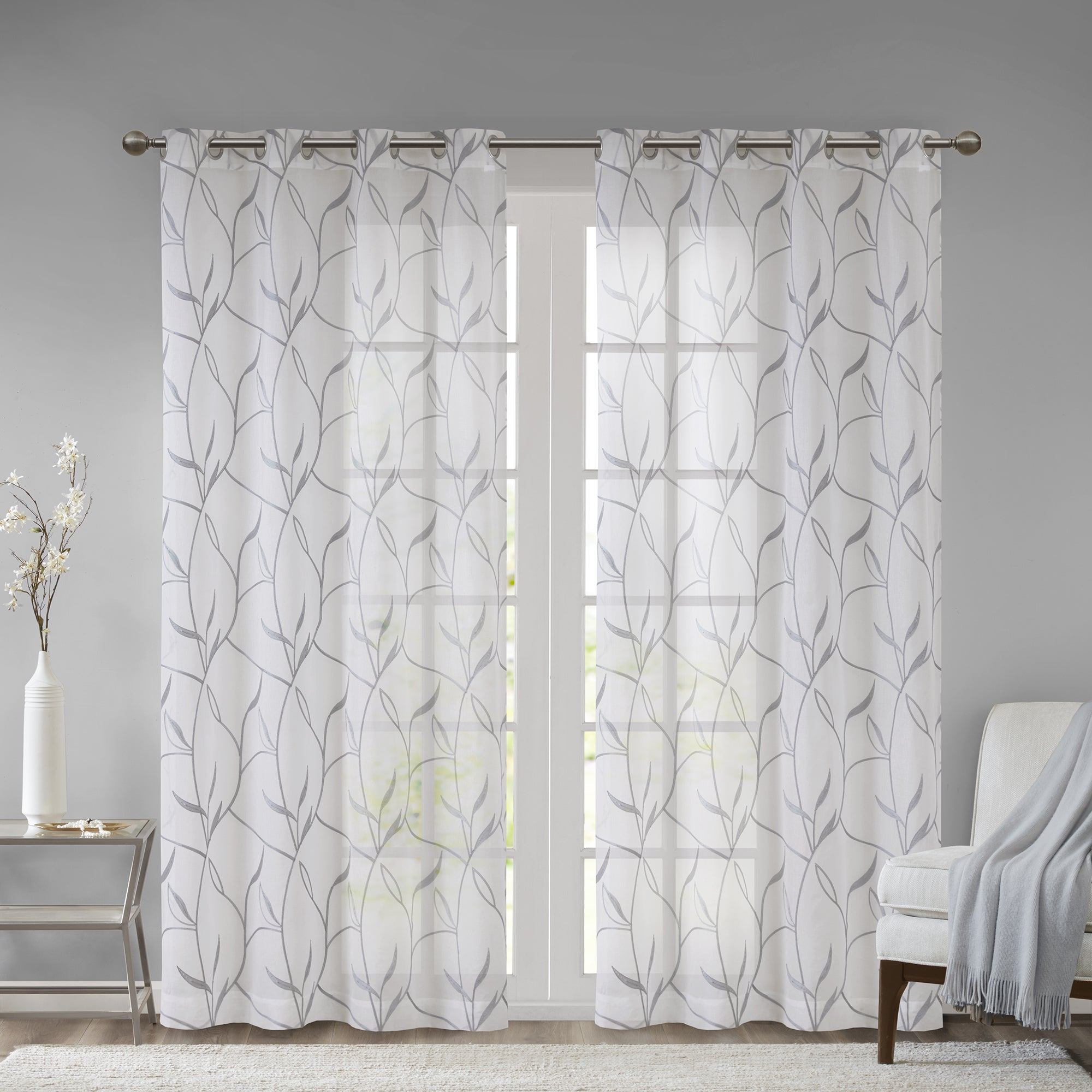 Madison Park Dawn Leaf Embroidered Sheer Single Curtain Panel Inside Vina Sheer Bird Single Curtain Panels (View 6 of 30)