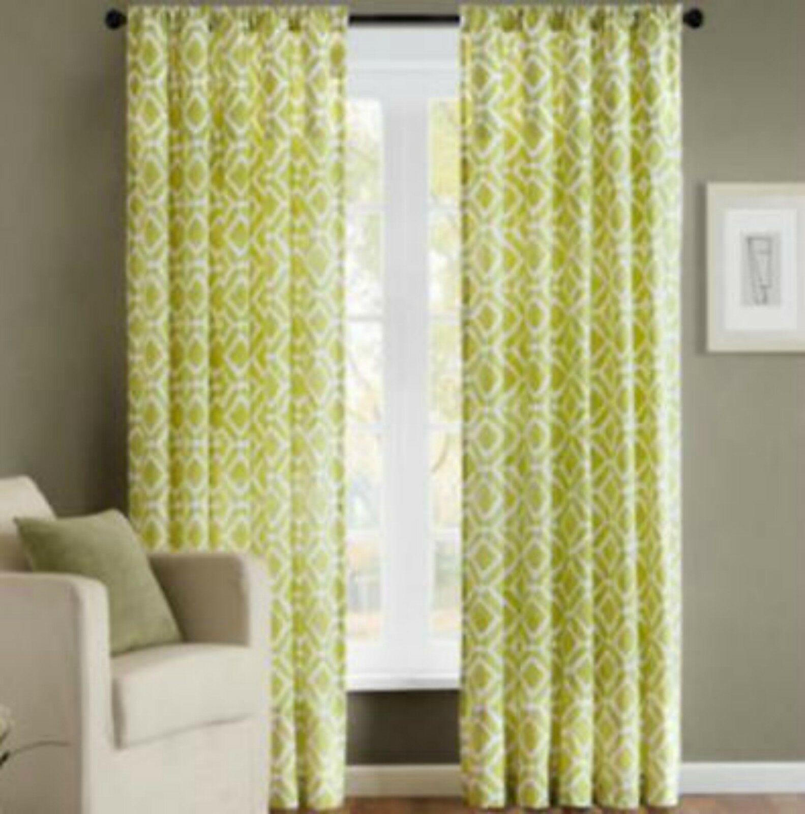 "Madison Park Ella Curtain Window Panel Drapery 84""l Green In Ella Window Curtain Panels (View 17 of 20)"