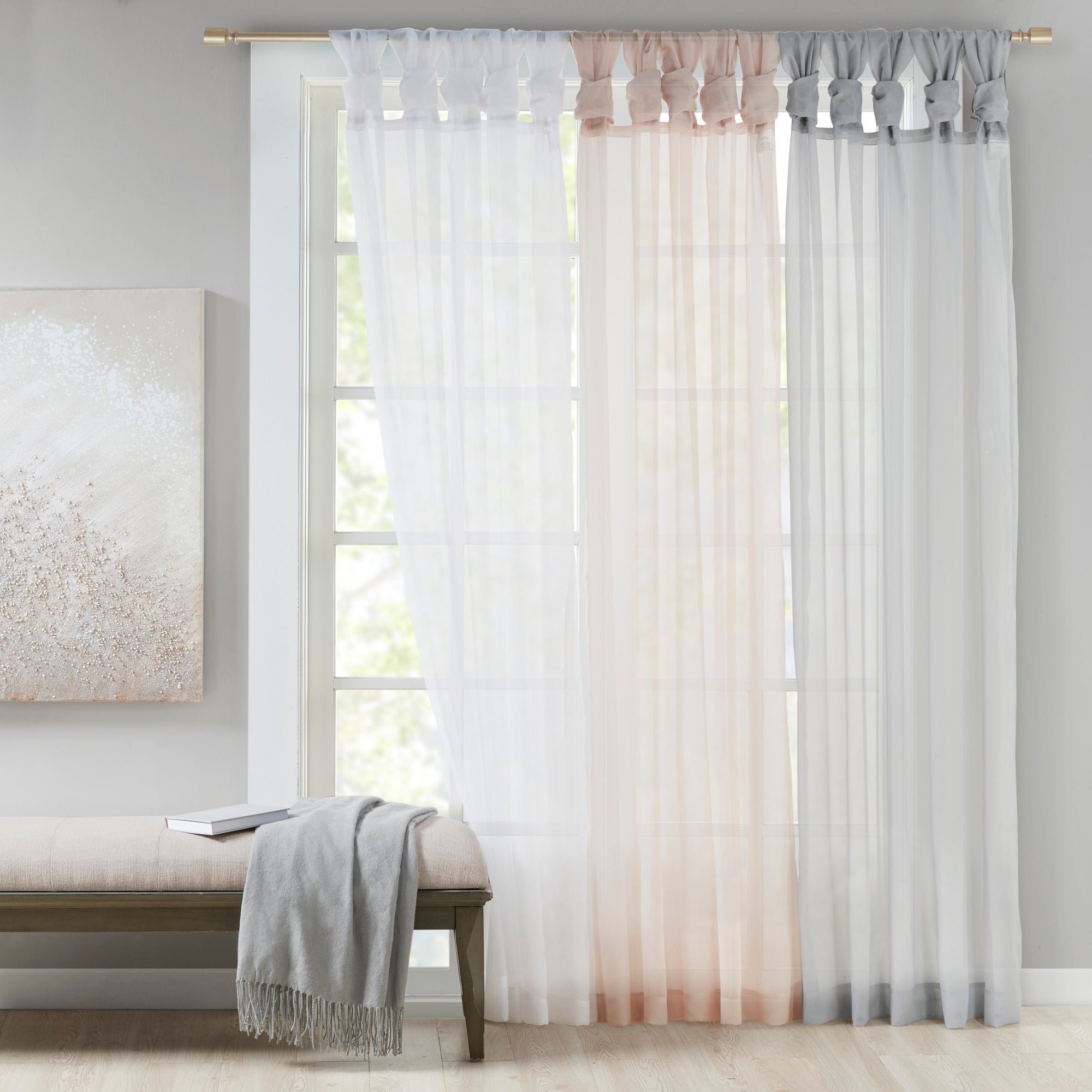 Featured Photo of Elowen White Twist Tab Voile Sheer Curtain Panel Pairs