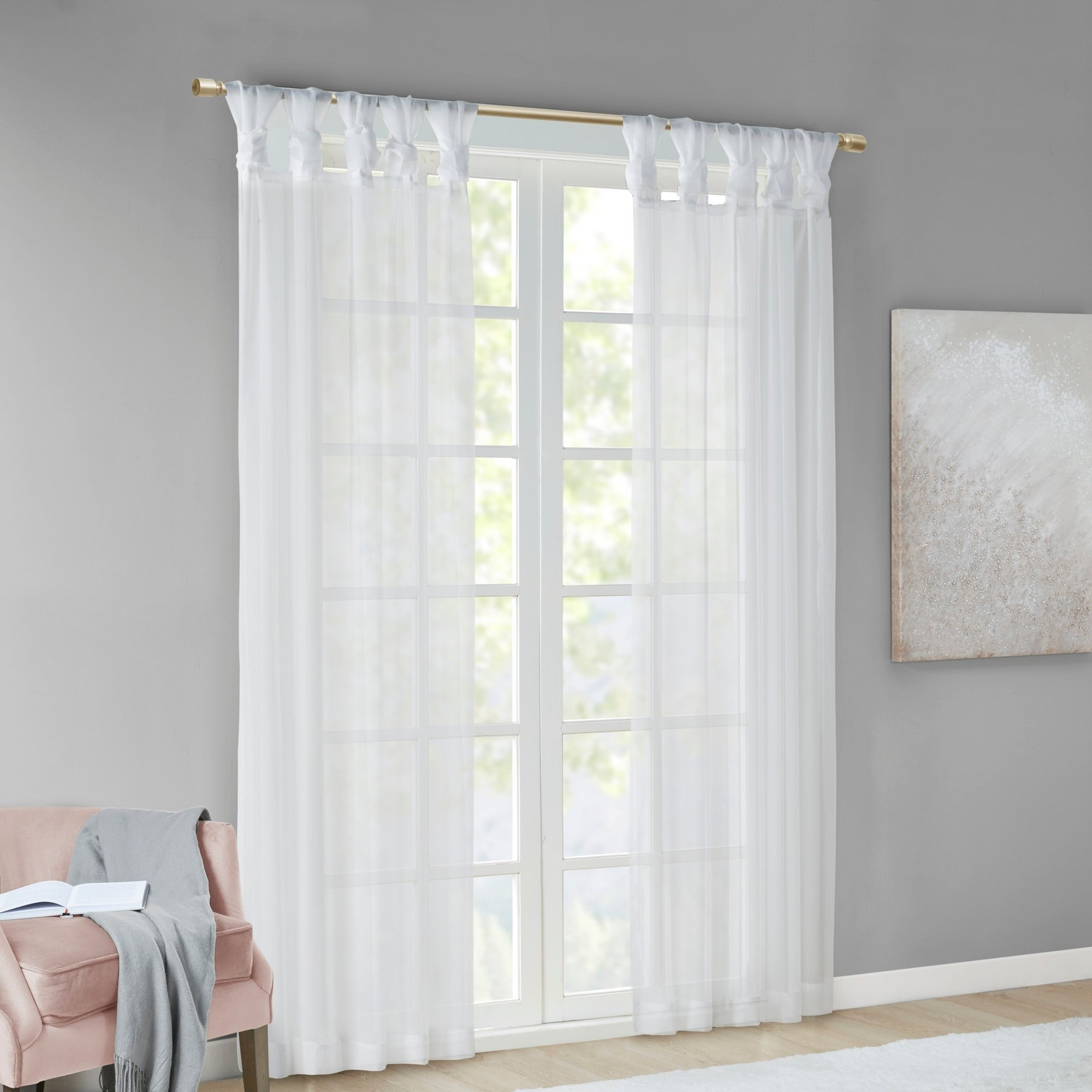 Madison Park Elowen White Twist Tab Voile Sheer Curtain Panel Pair Regarding Elowen White Twist Tab Voile Sheer Curtain Panel Pairs (View 8 of 20)