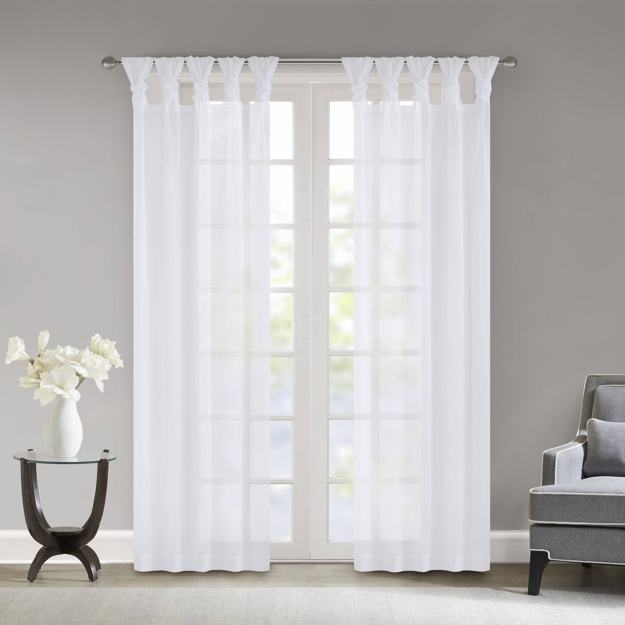 Madison Park Elowen White Twisted Tab Voile Sheer Curtain Inside Elowen White Twist Tab Voile Sheer Curtain Panel Pairs (View 10 of 20)
