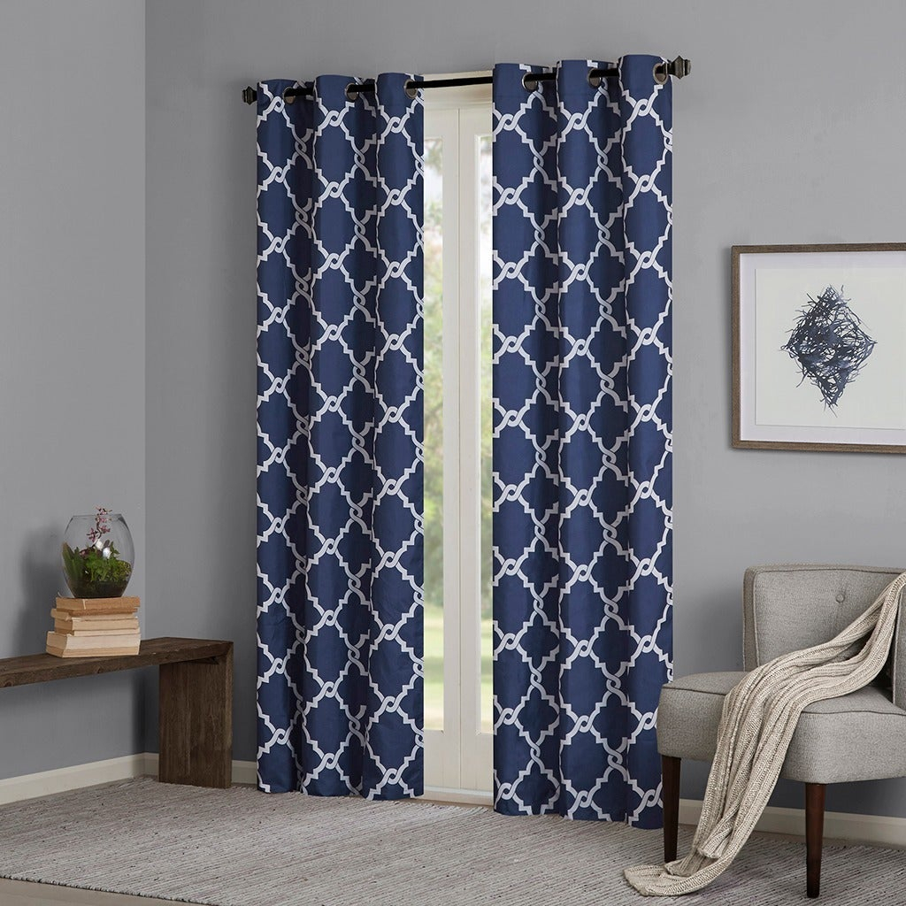 Madison Park Essentials Almaden Fretwork Printed Grommet Top Curtain Panel Pair For Essentials Almaden Fretwork Printed Grommet Top Curtain Panel Pairs (View 3 of 20)