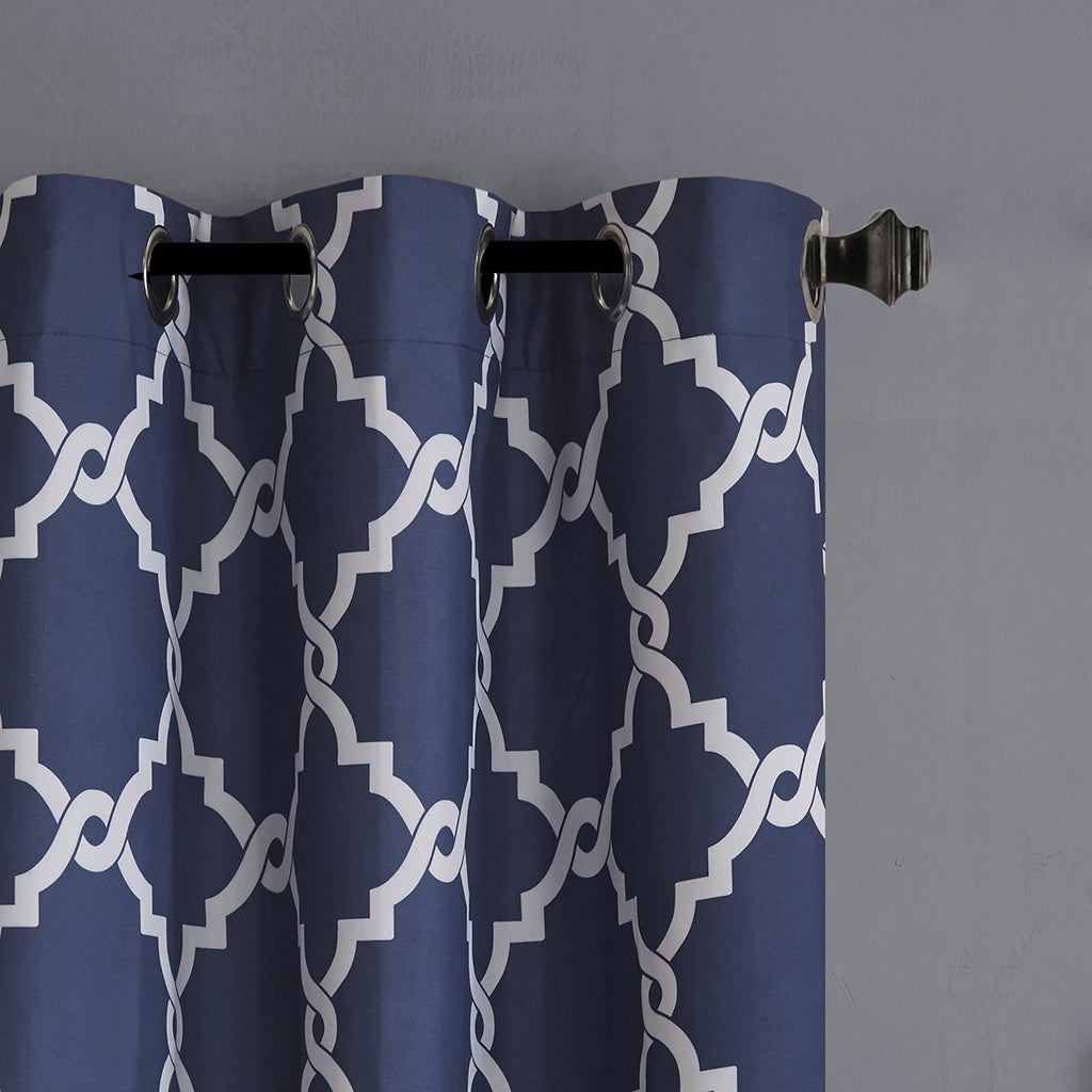 Madison Park Essentials Almaden Fretwork Printed Grommet Top Curtain Panel Pair For Essentials Almaden Fretwork Printed Grommet Top Curtain Panel Pairs (View 7 of 20)