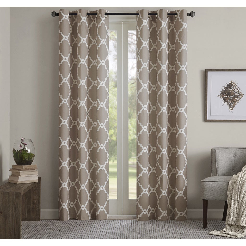 Madison Park Essentials Almaden Fretwork Printed Grommet Top Curtain Panel Pair For Essentials Almaden Fretwork Printed Grommet Top Curtain Panel Pairs (View 2 of 20)