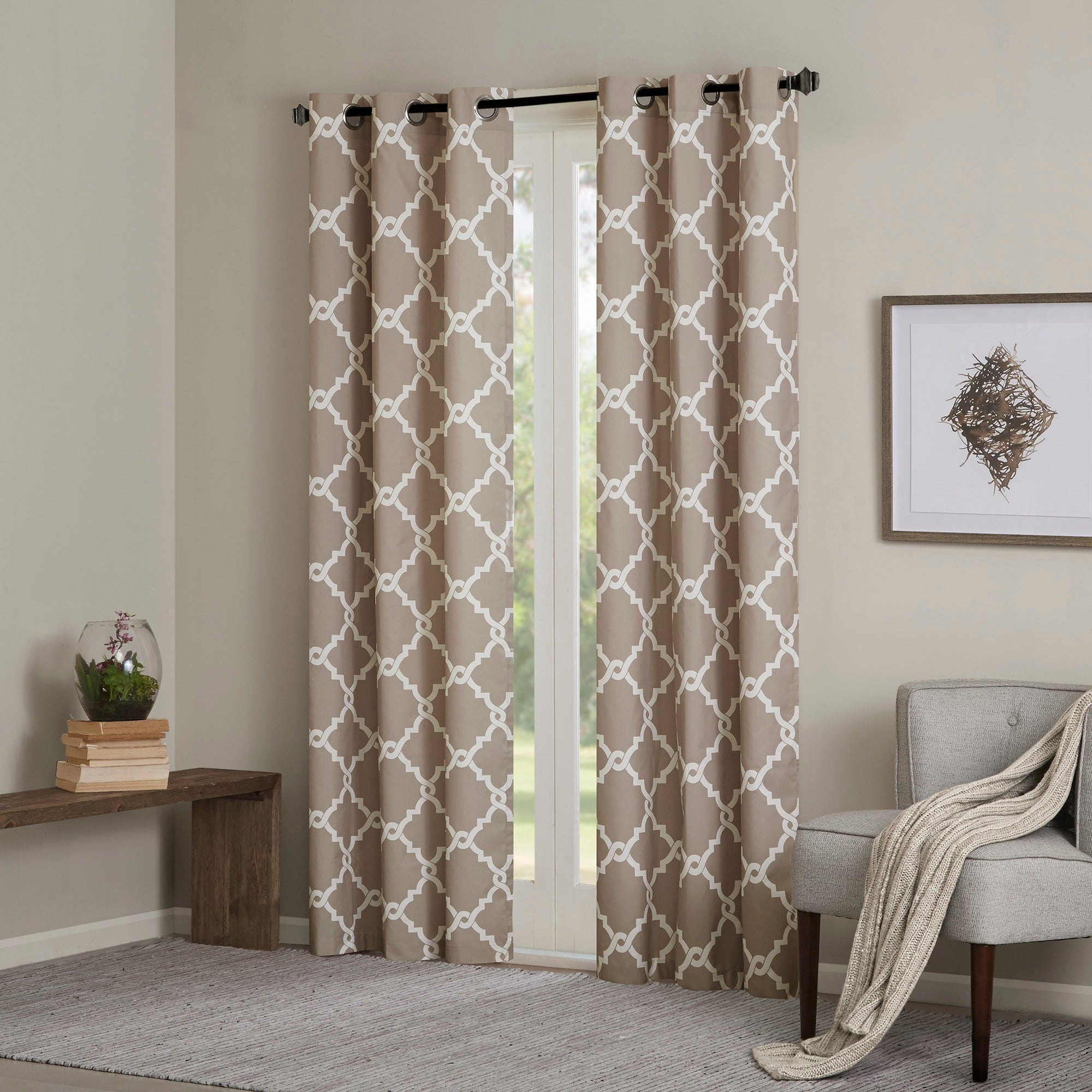 Featured Photo of Essentials Almaden Fretwork Printed Grommet Top Curtain Panel Pairs