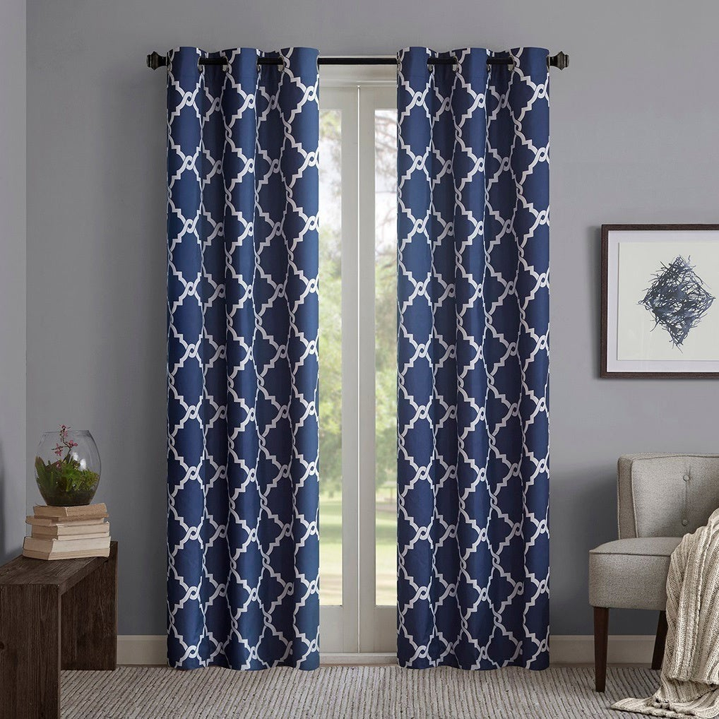 Madison Park Essentials Almaden Fretwork Printed Grommet Top Curtain Panel Pair Pertaining To Essentials Almaden Fretwork Printed Grommet Top Curtain Panel Pairs (View 4 of 20)