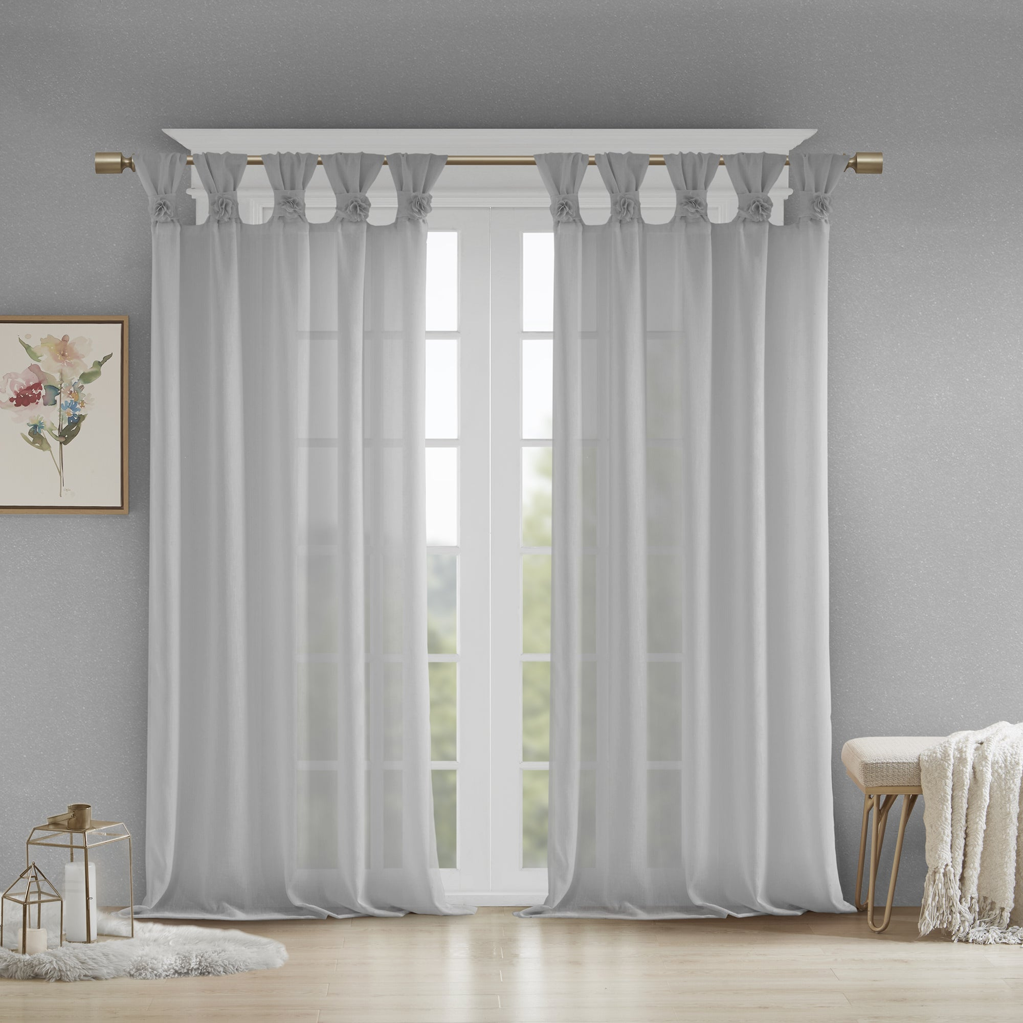 Madison Park Florah Tab Top Sheer Single Curtain Panel In Elowen White Twist Tab Voile Sheer Curtain Panel Pairs (View 14 of 20)