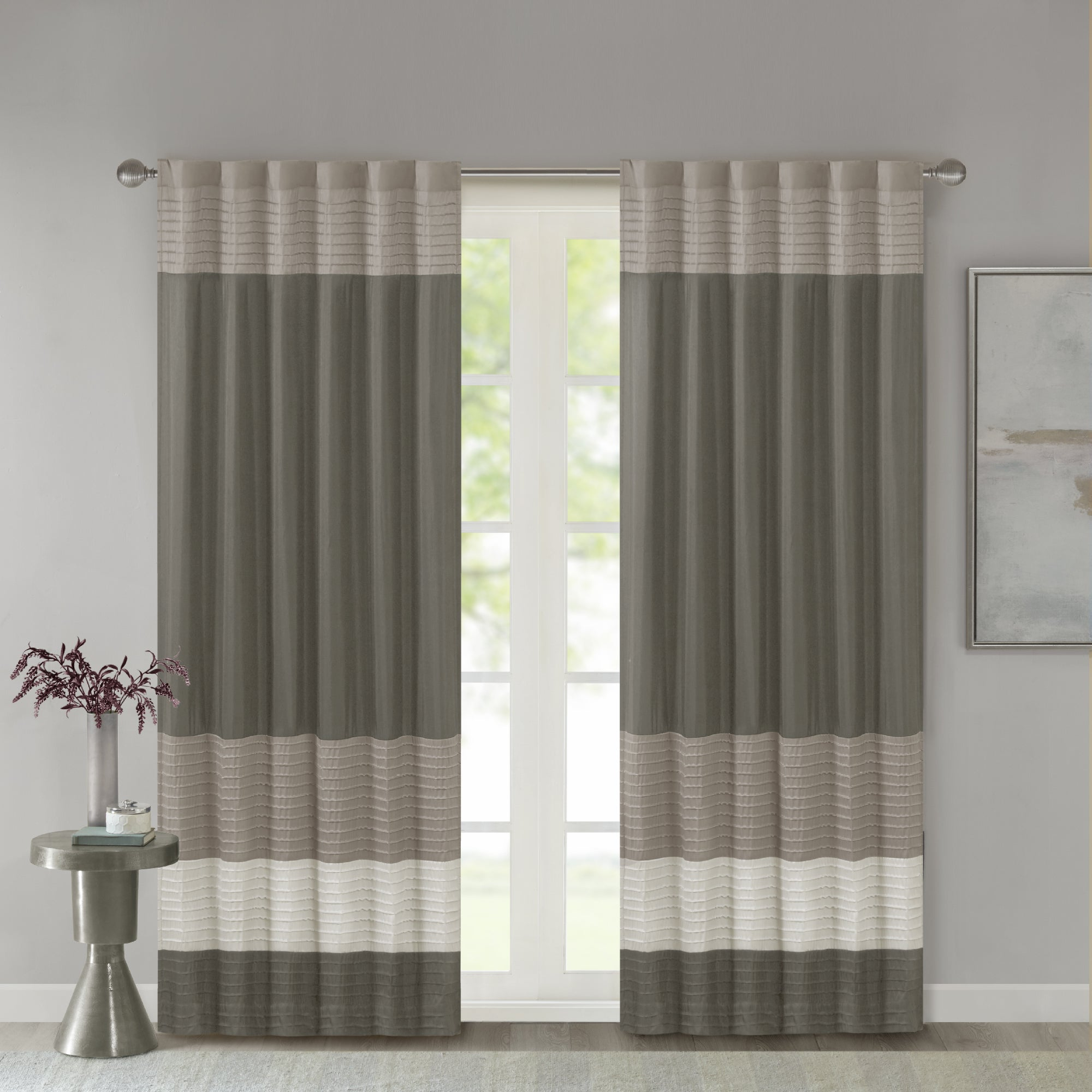 Madison Park Infinity Polyoni Pintuck Single Window Curtain Panel Regarding Chester Polyoni Pintuck Curtain Panels (View 20 of 20)