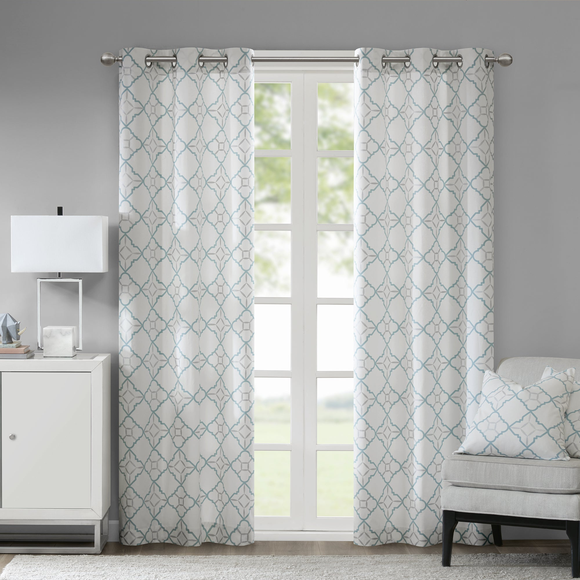 Madison Park Jax Cotton Printed Curtain Panel Pair Within Essentials Almaden Fretwork Printed Grommet Top Curtain Panel Pairs (View 12 of 20)