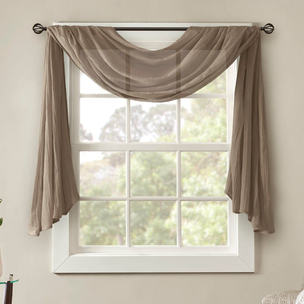 Madison Park Kaylee Solid Crushed Sheer Scarf Window Valance Within Kaylee Solid Crushed Sheer Window Curtain Pairs (View 8 of 20)