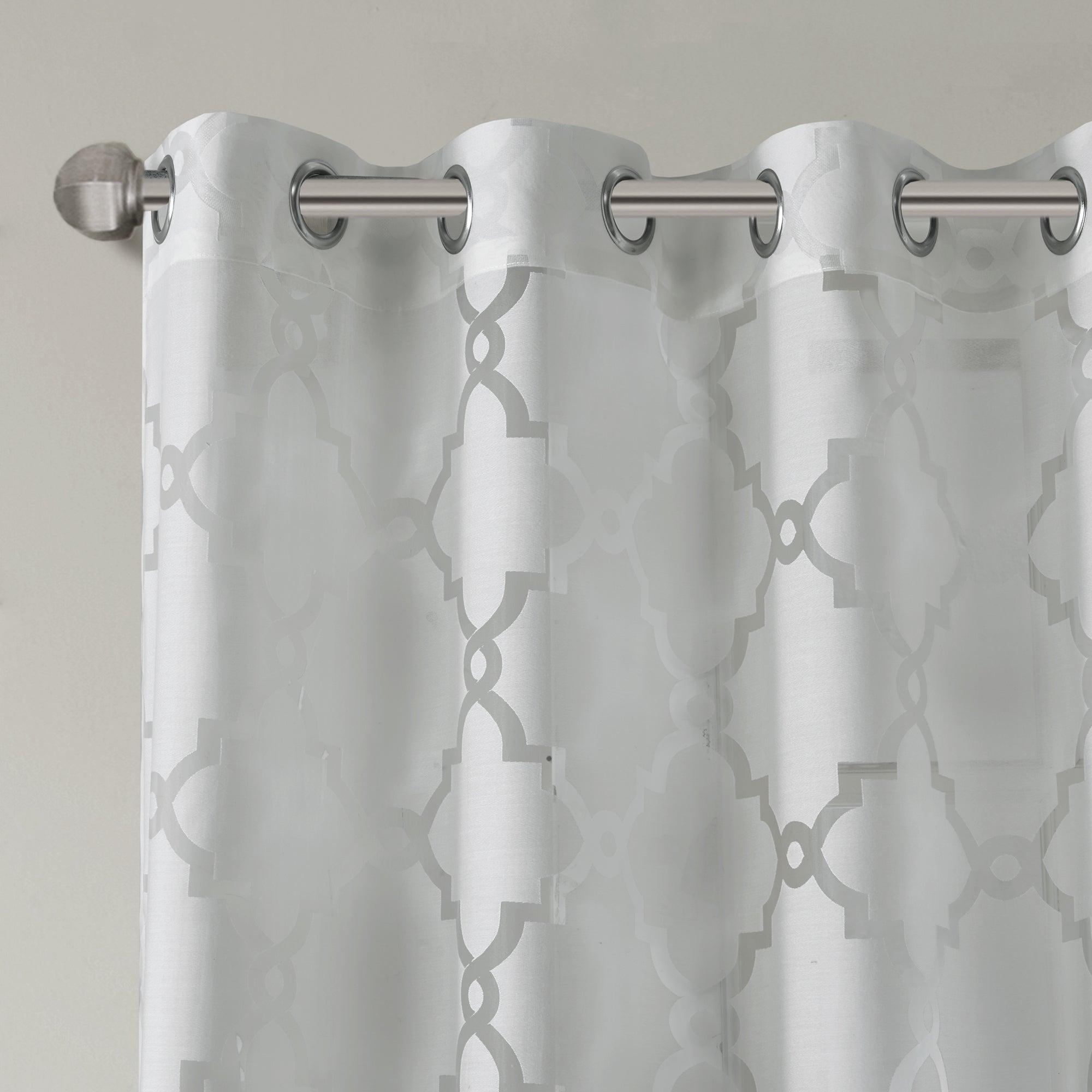 Madison Park Laya Fretwork Burnout Sheer Curtain Panel Pertaining To Laya Fretwork Burnout Sheer Curtain Panels (View 5 of 20)