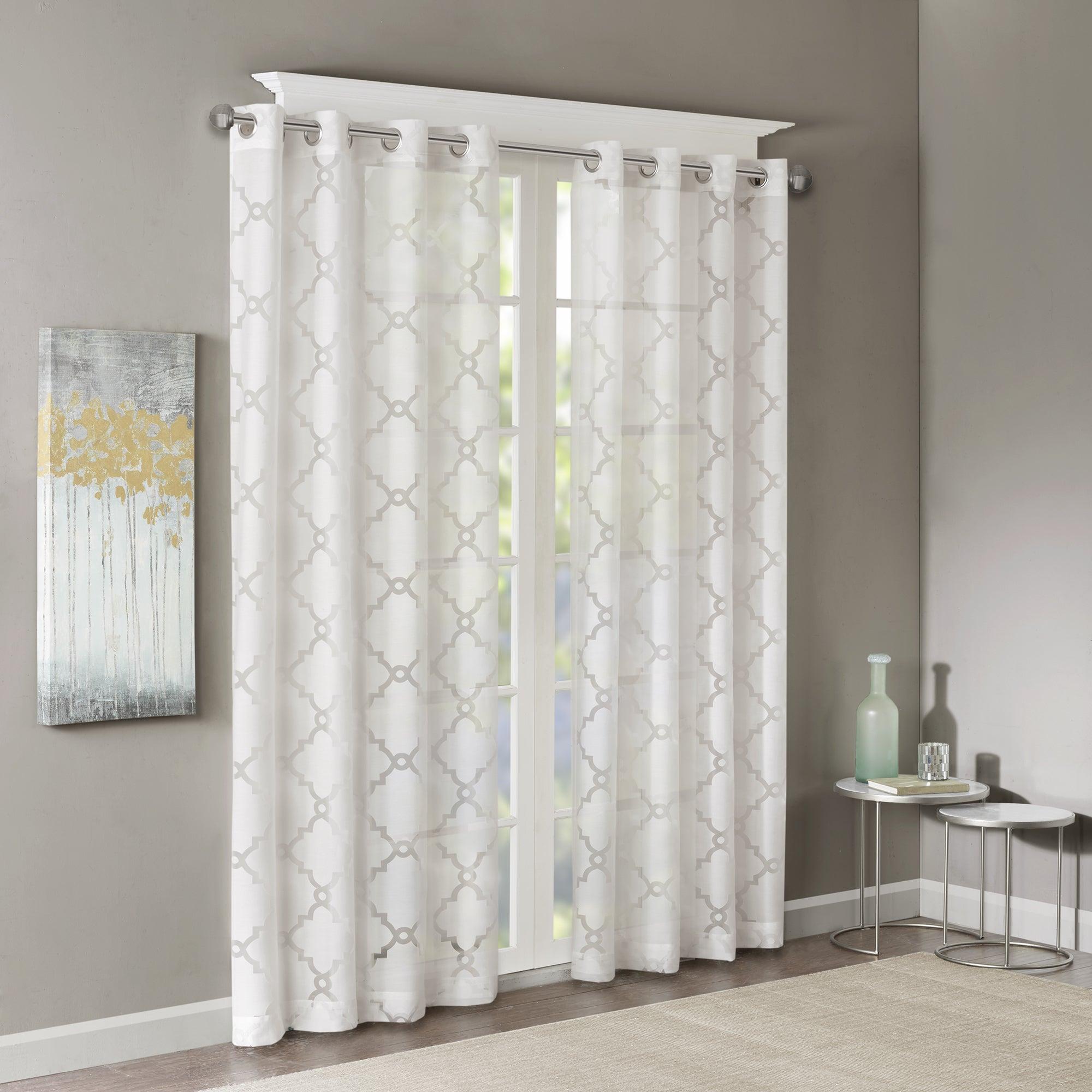 Madison Park Laya Fretwork Burnout Sheer Curtain Panel Regarding Vina Sheer Bird Single Curtain Panels (View 9 of 30)