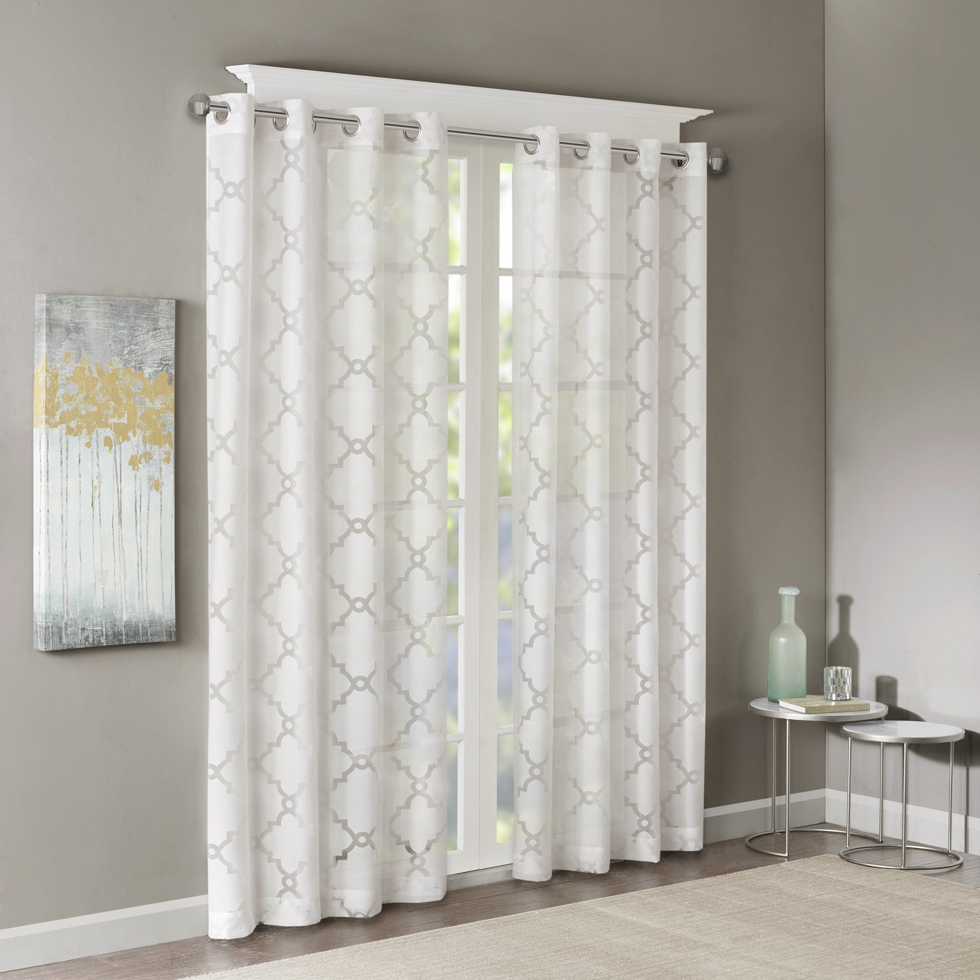 Featured Photo of Laya Fretwork Burnout Sheer Curtain Panels
