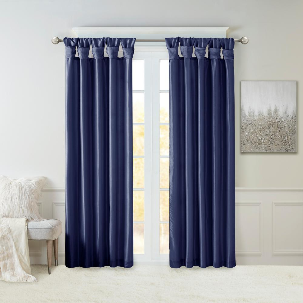 Madison Park Natalie Navy Faux Fur Room Darkening Twist Tab Lined Window Curtain 50 In. W X 120 In (View 10 of 30)