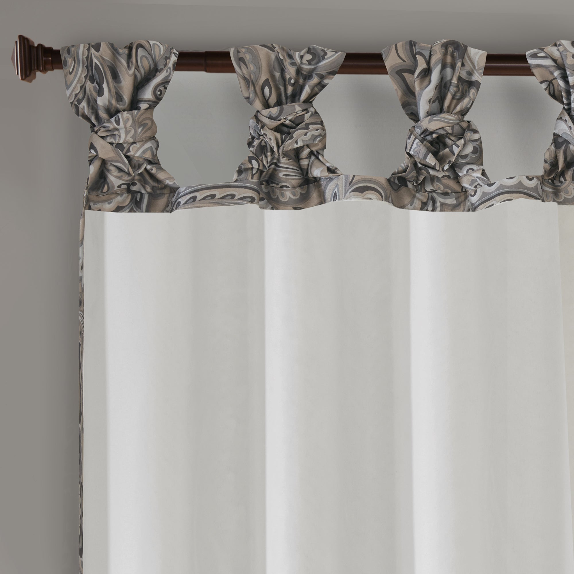 Madison Park Rosalie Twist Tab Paisley Printed Single Window Curtain Panel Throughout Twisted Tab Lined Single Curtain Panels (View 22 of 30)