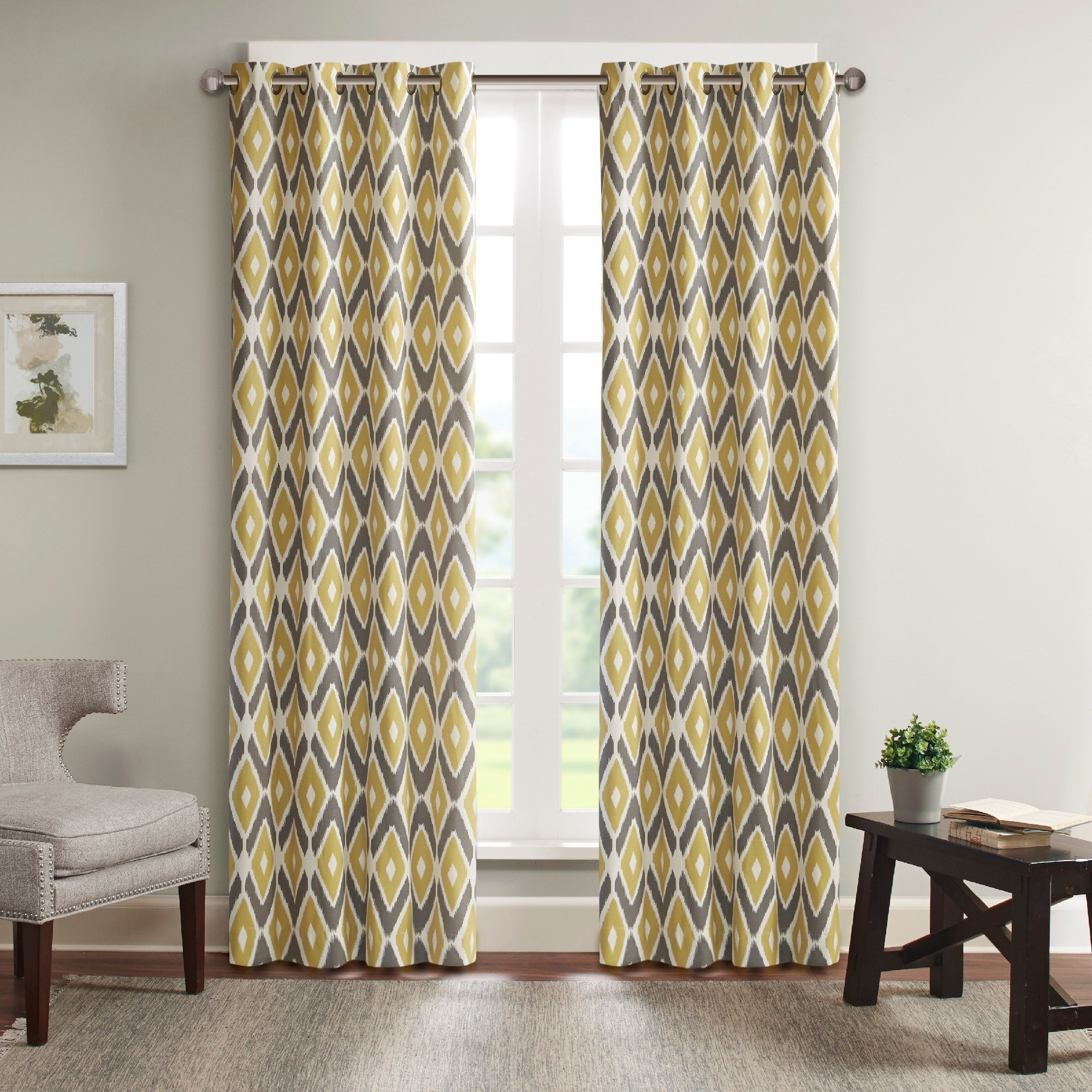 Madison Park Stetsen Diamond Printed Single Window Curtain Within Ink Ivy Ankara Cotton Printed Single Curtain Panels (View 16 of 20)