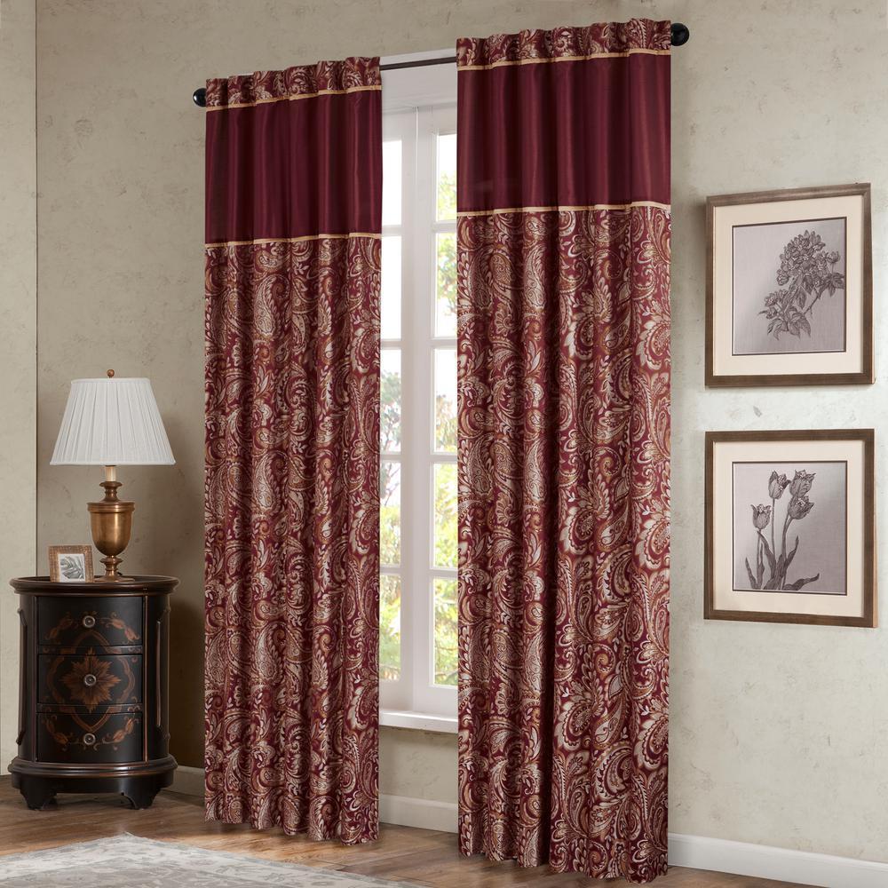Madison Park Whitman Burgundy Room Darkening Curtain 50 In. X 95 In (View 4 of 30)