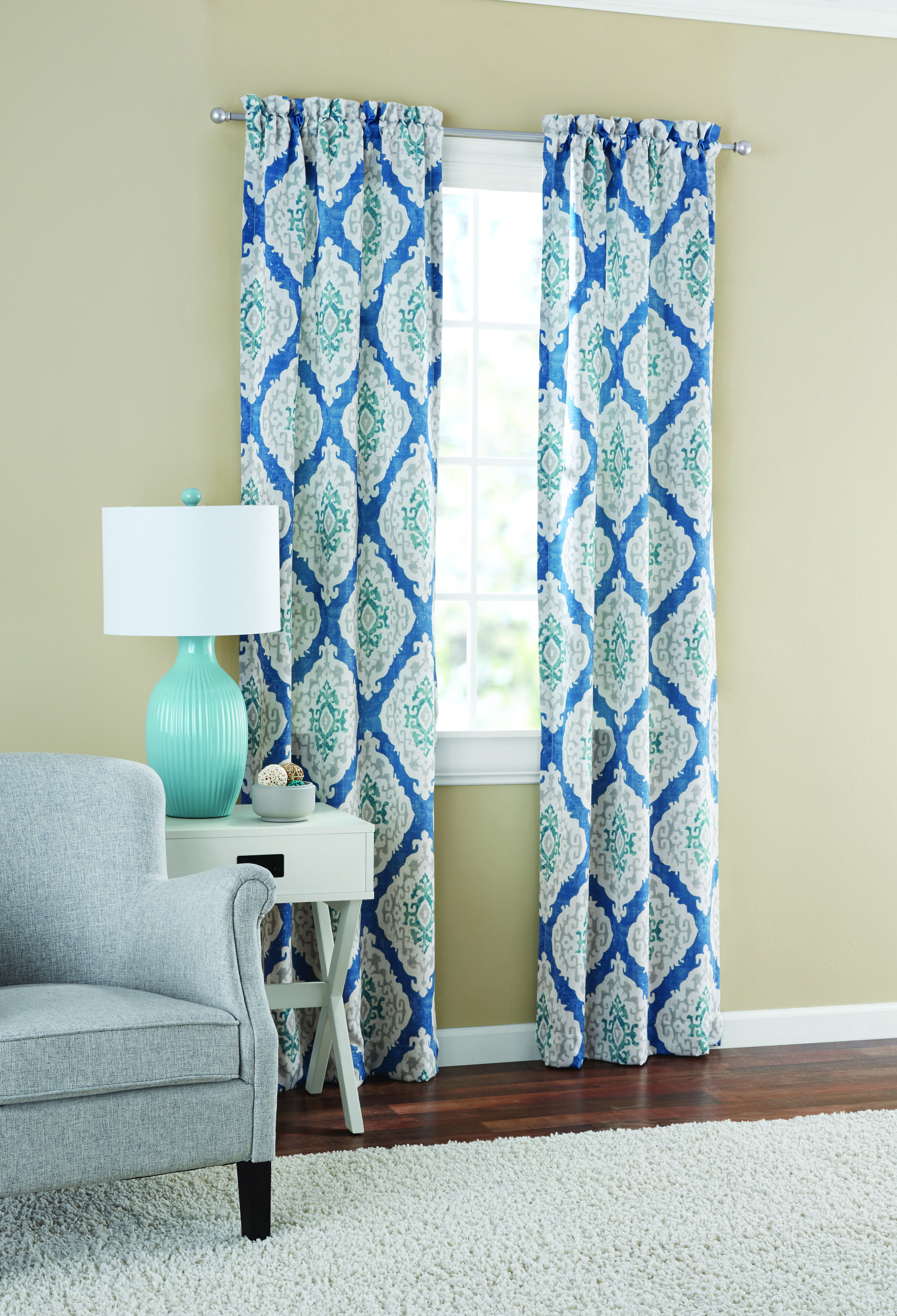 Mainstays Distressed Ikat Room Darkening Window Curtain Regarding Eclipse Corinne Thermaback Curtain Panels (View 18 of 20)