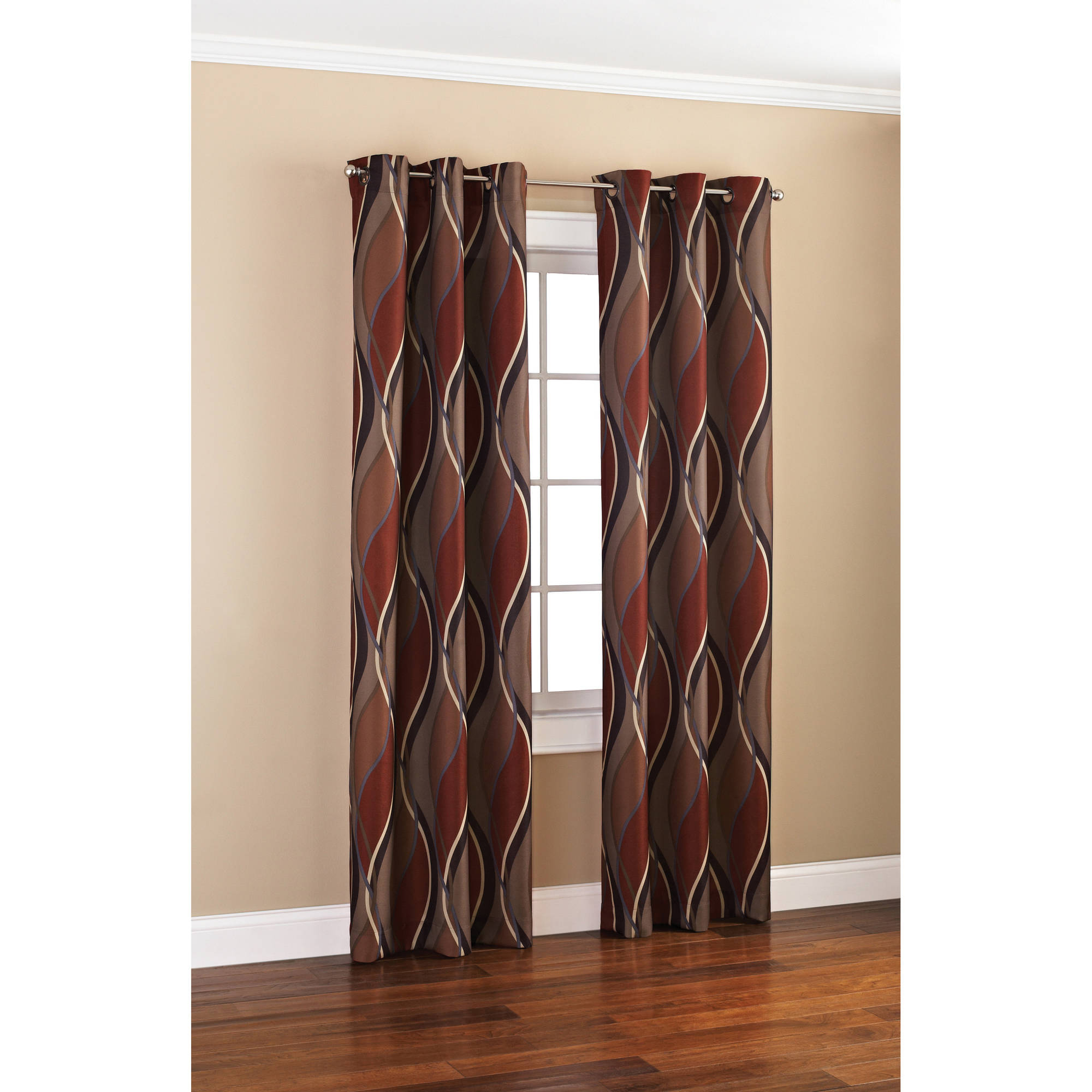 Mainstays Wave Print Casual Curtain Panel For Intersect Grommet Woven Print Window Curtain Panels (View 6 of 20)