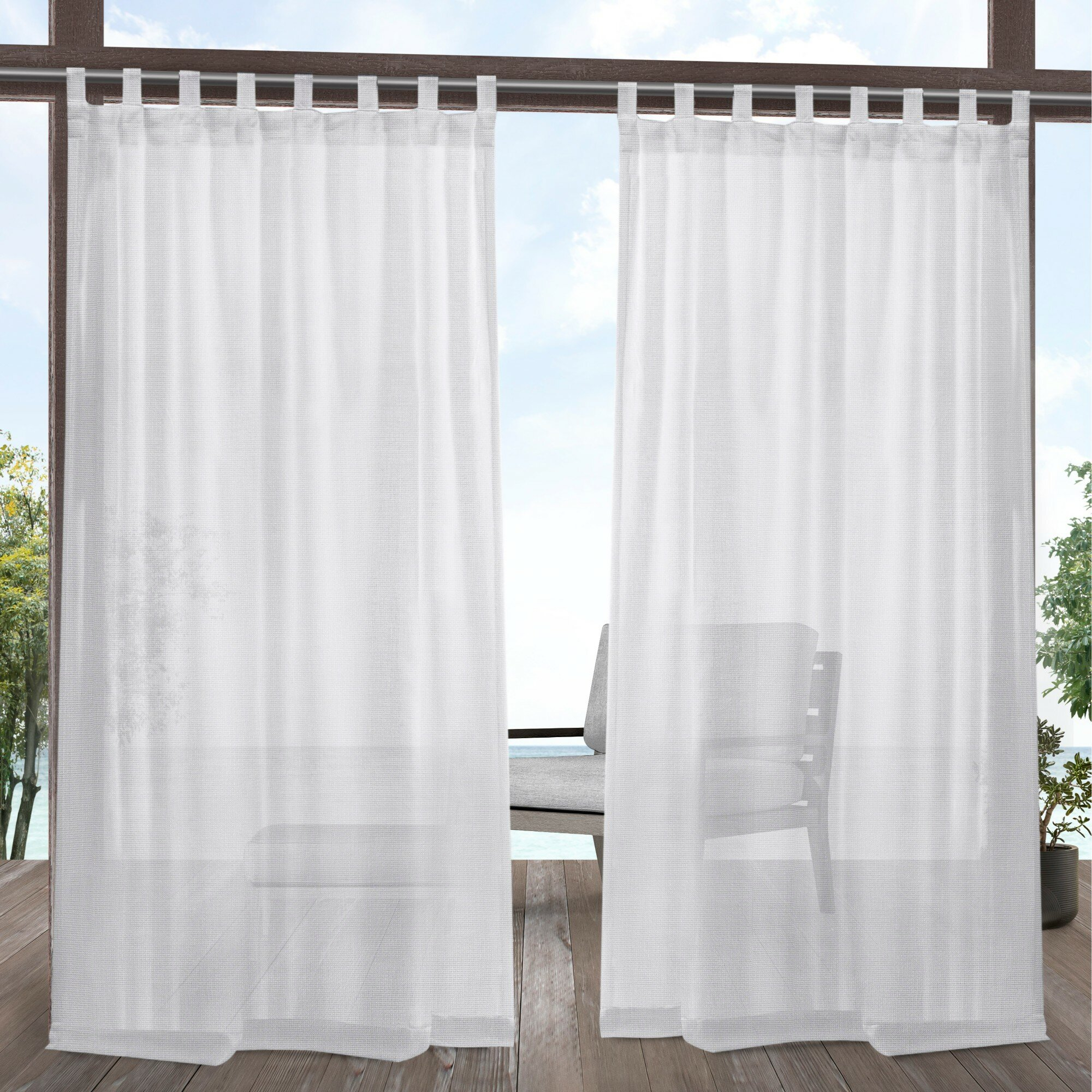Malaya Solid Color Sheer Tab Top Curtain Panel Pair Throughout Solid Grommet Top Curtain Panel Pairs (View 10 of 30)